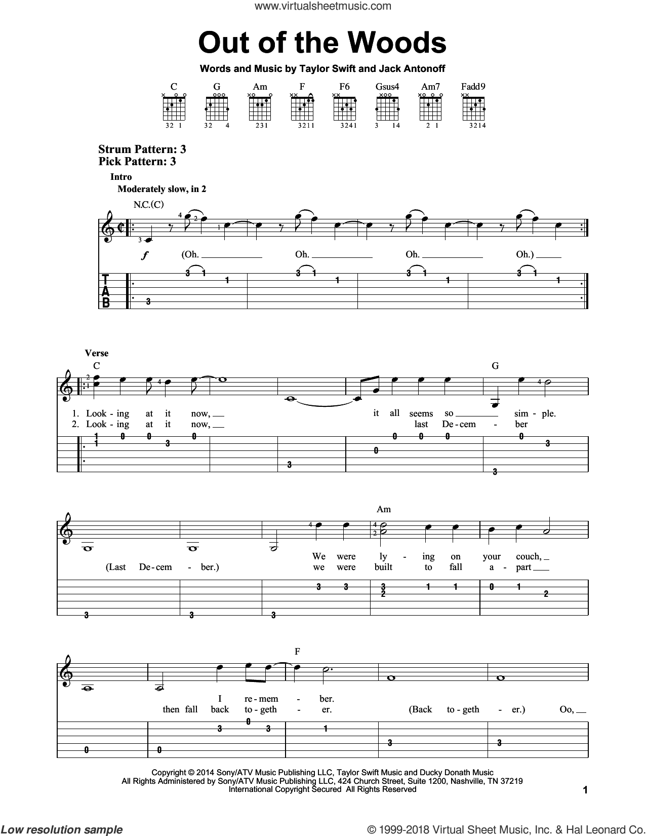 Out Of The Woods sheet music for guitar solo (easy tablature) by Taylor Swift and Jack Antonoff. Score Image Preview.
