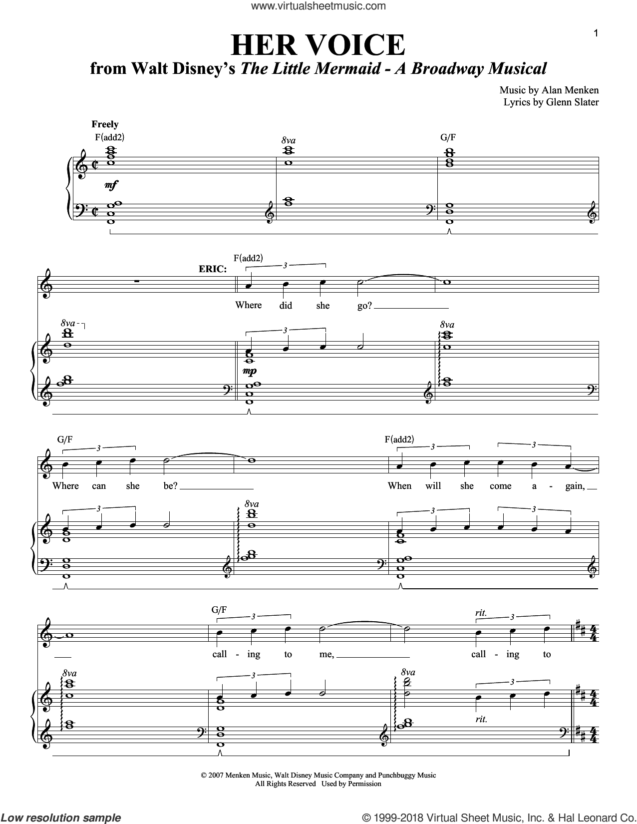 Her Voice sheet music for voice and piano by Alan Menken and Glenn Slater, intermediate. Score Image Preview.