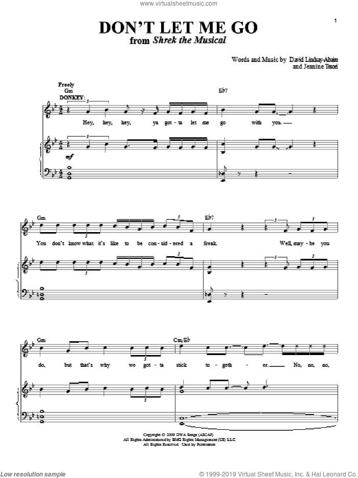 Don't Let Me Go sheet music for voice and piano by Jeanine Tesori and David Lindsay-Abaire, intermediate skill level