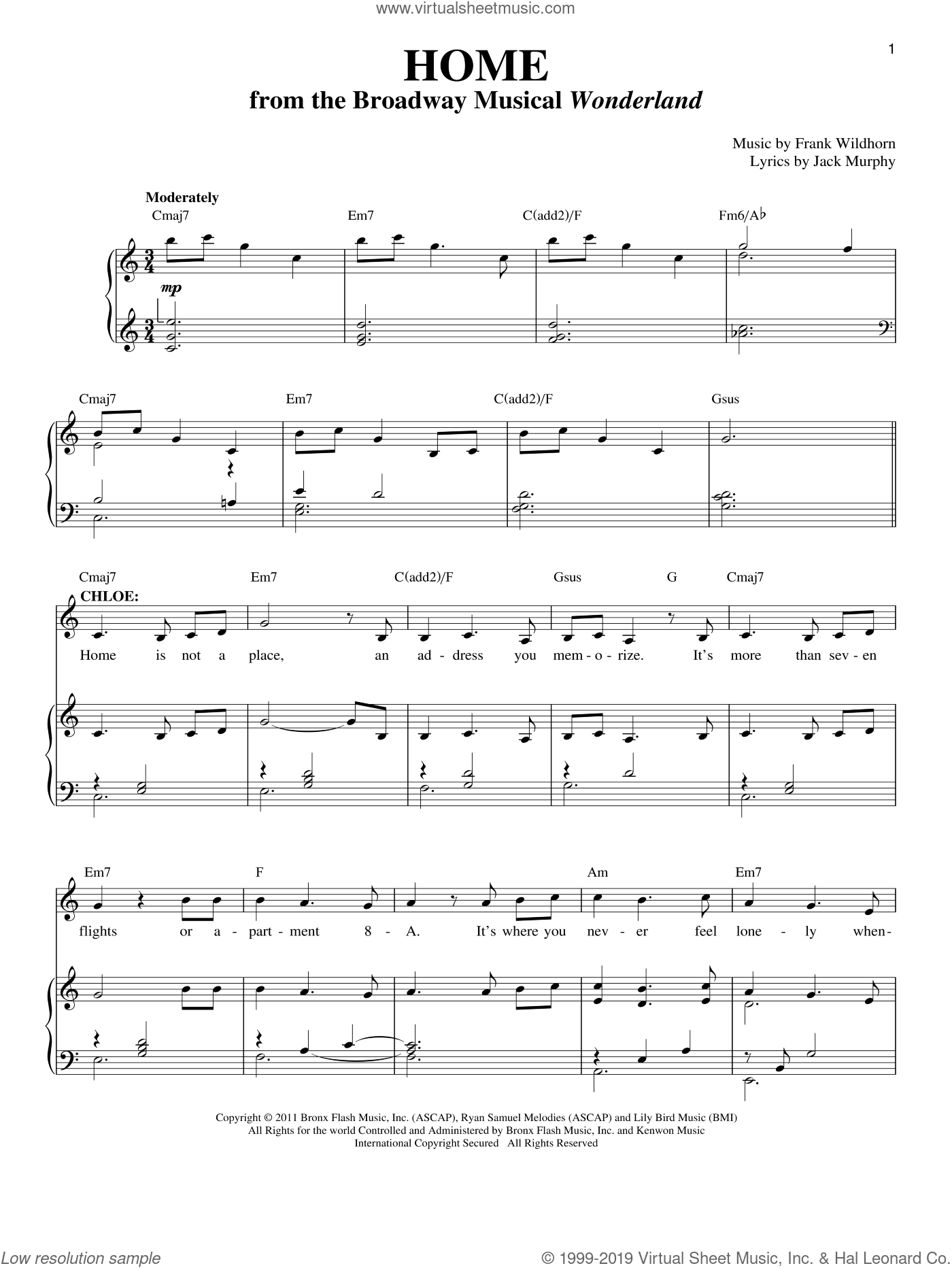 Home sheet music for voice and piano by Frank Wildhorn and Jack Murphy, intermediate skill level