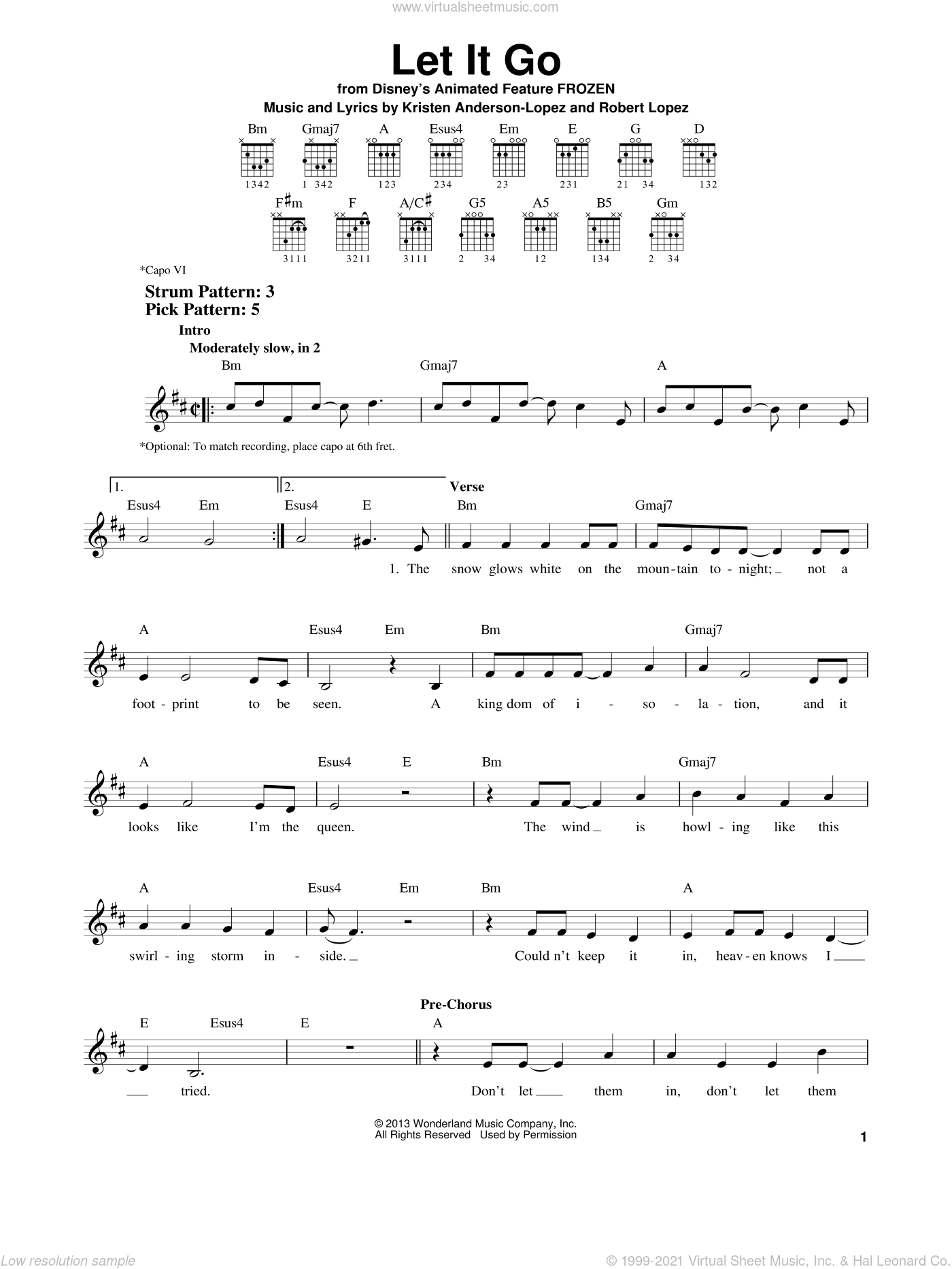 Let It Go sheet music for guitar solo (chords) by Idina Menzel, Kristen Anderson-Lopez and Robert Lopez, easy guitar (chords)