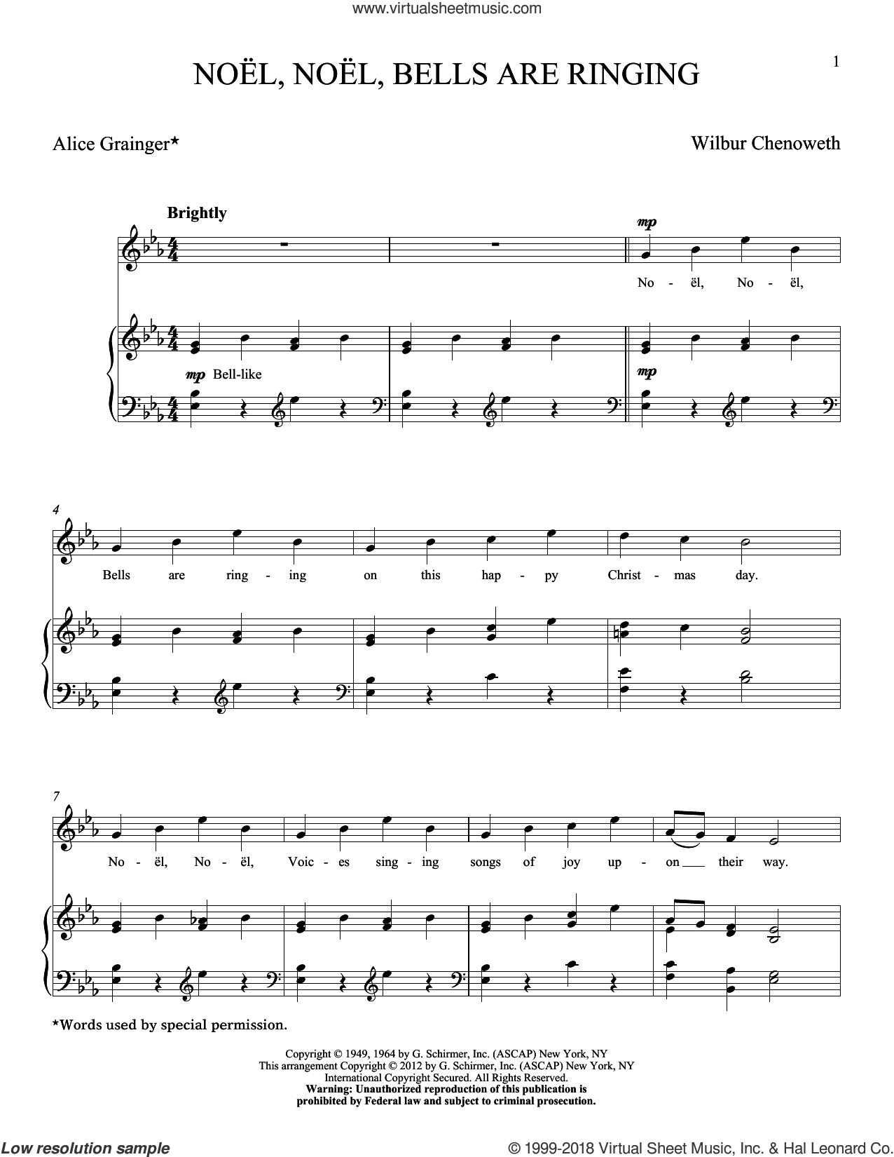 Noel, Noel, Bells Are Ringing sheet music for voice and piano (High ) by Wilbur Chenoweth, classical score, intermediate. Score Image Preview.