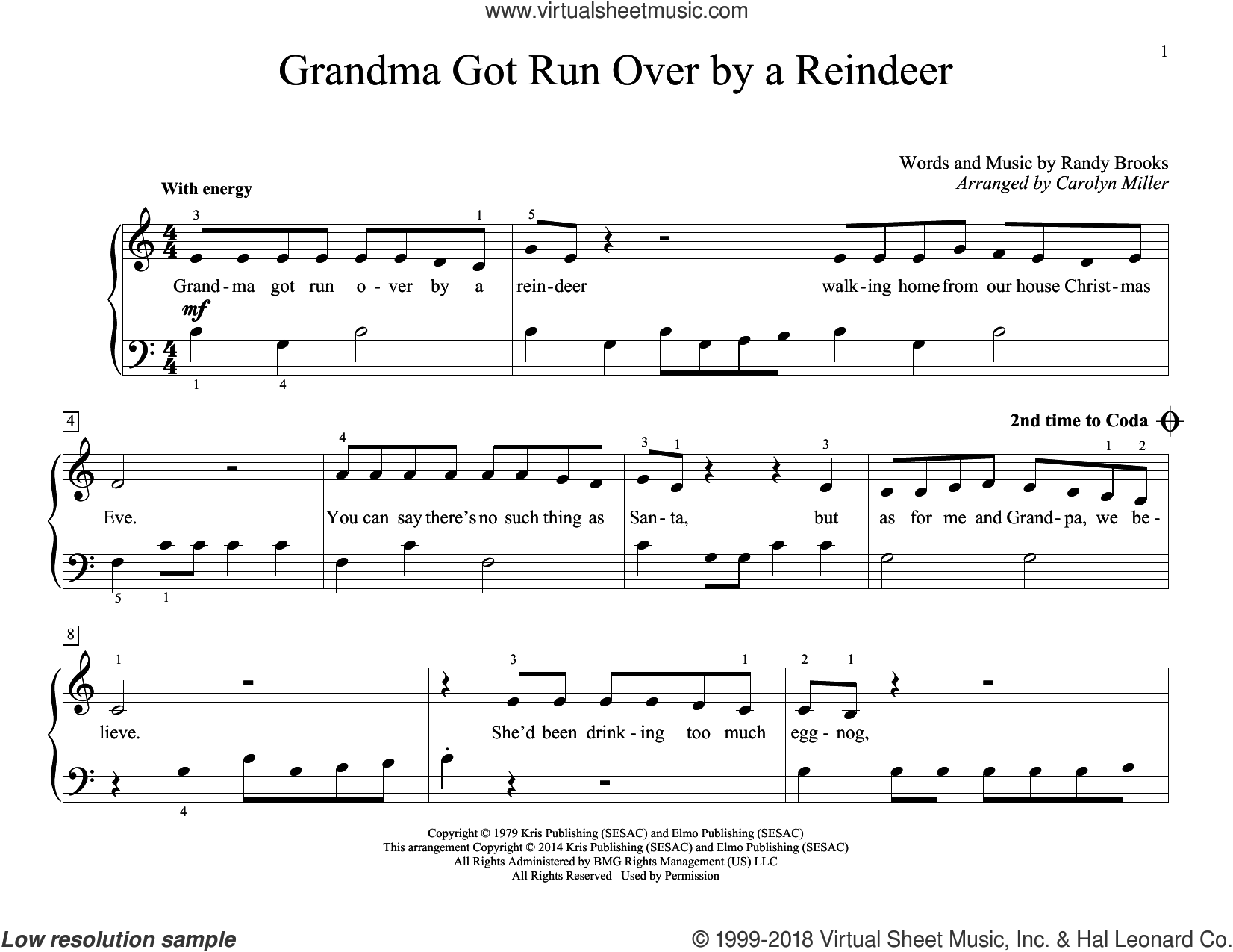 Grandma Got Run Over By A Reindeer sheet music for piano solo (elementary) by Randy Brooks, Carolyn Miller and John Thompson. Score Image Preview.