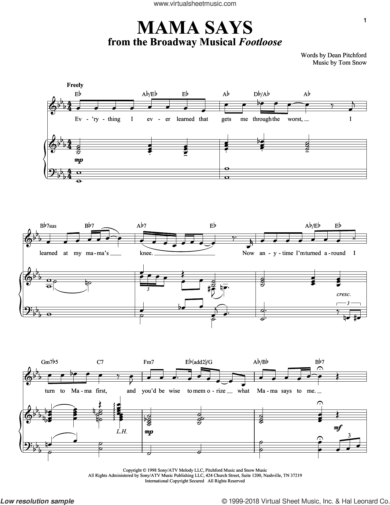Mama Says sheet music for voice and piano by Dean Pitchford, Richard Walters and Tom Snow, intermediate. Score Image Preview.