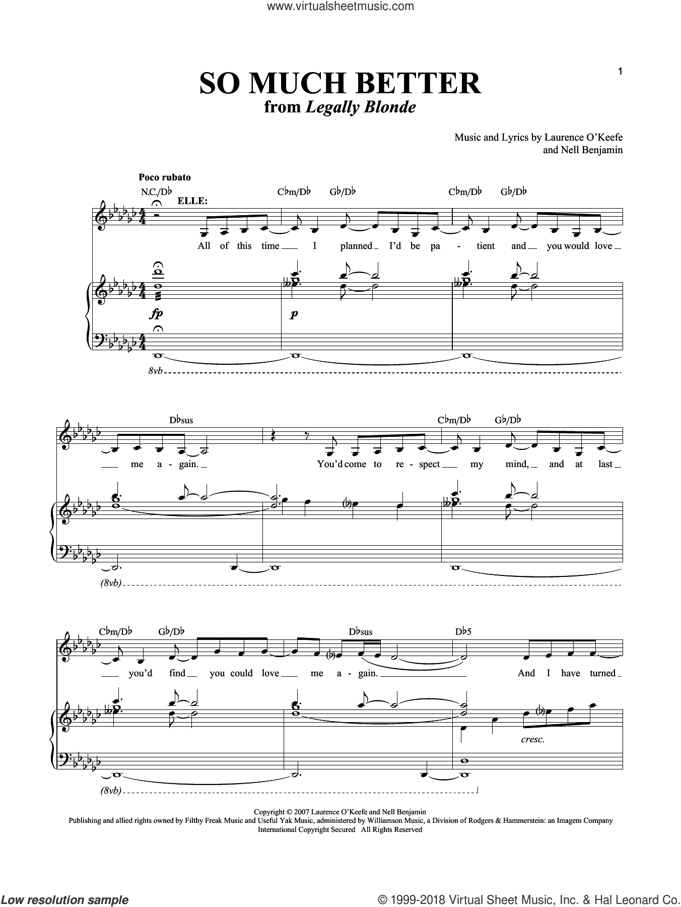 So Much Better sheet music for voice and piano by Laurence O'Keefe and Nell Benjamin, intermediate. Score Image Preview.