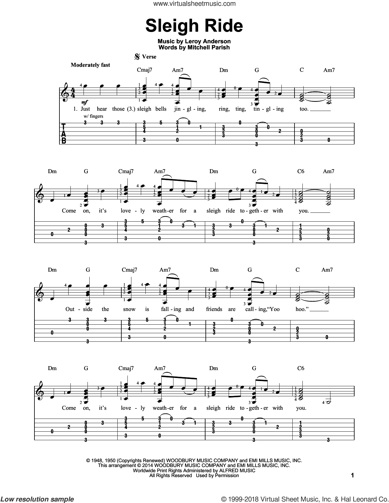 Sleigh Ride sheet music for guitar solo (easy tablature) by LeRoy Anderson and Mitchell Parish, easy guitar (easy tablature)