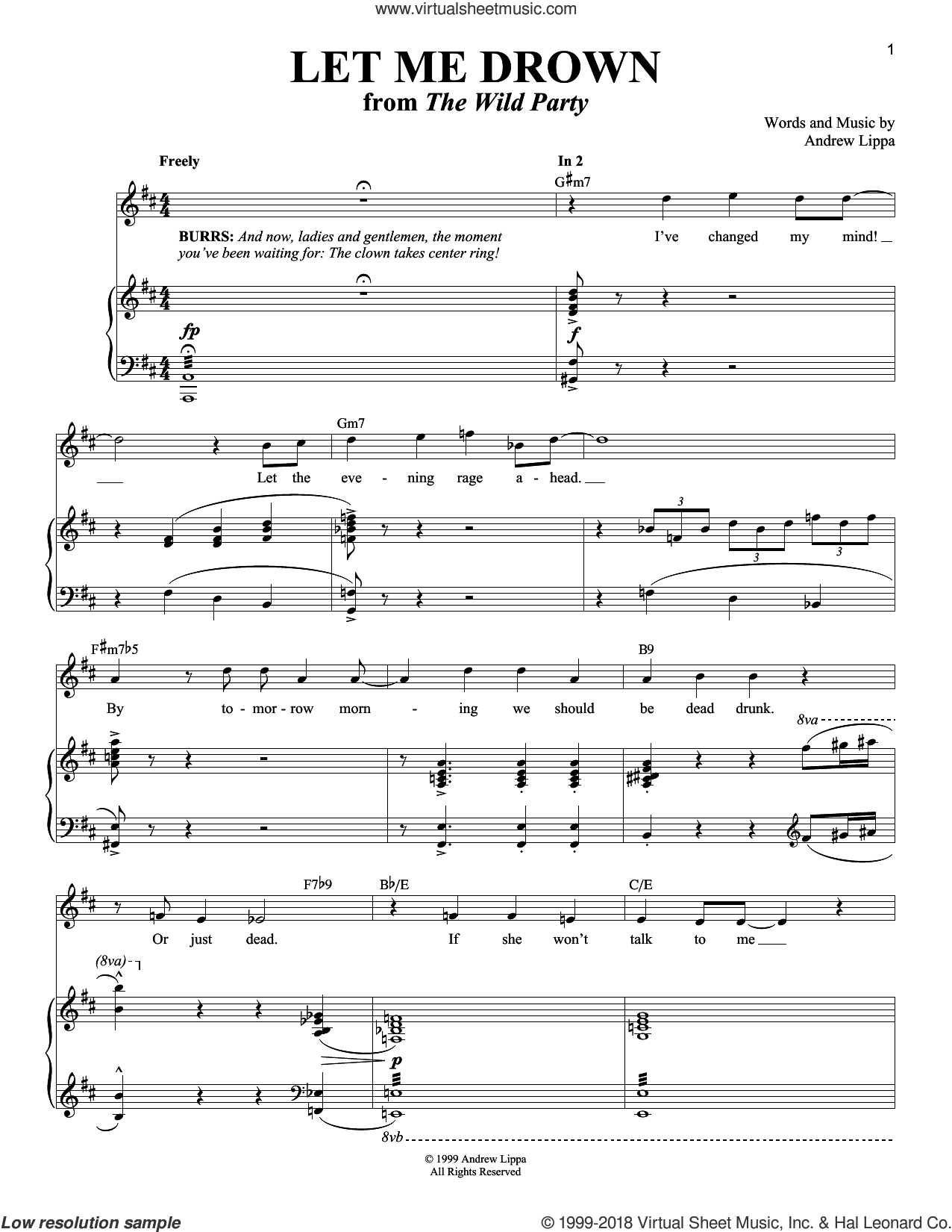Let Me Drown sheet music for voice and piano by Andrew Lippa and Richard Walters, intermediate skill level
