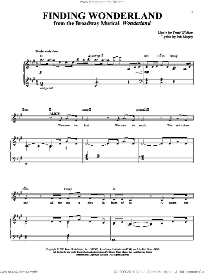 Finding Wonderland sheet music for voice and piano by Frank Wildhorn and Jack Murphy, intermediate skill level
