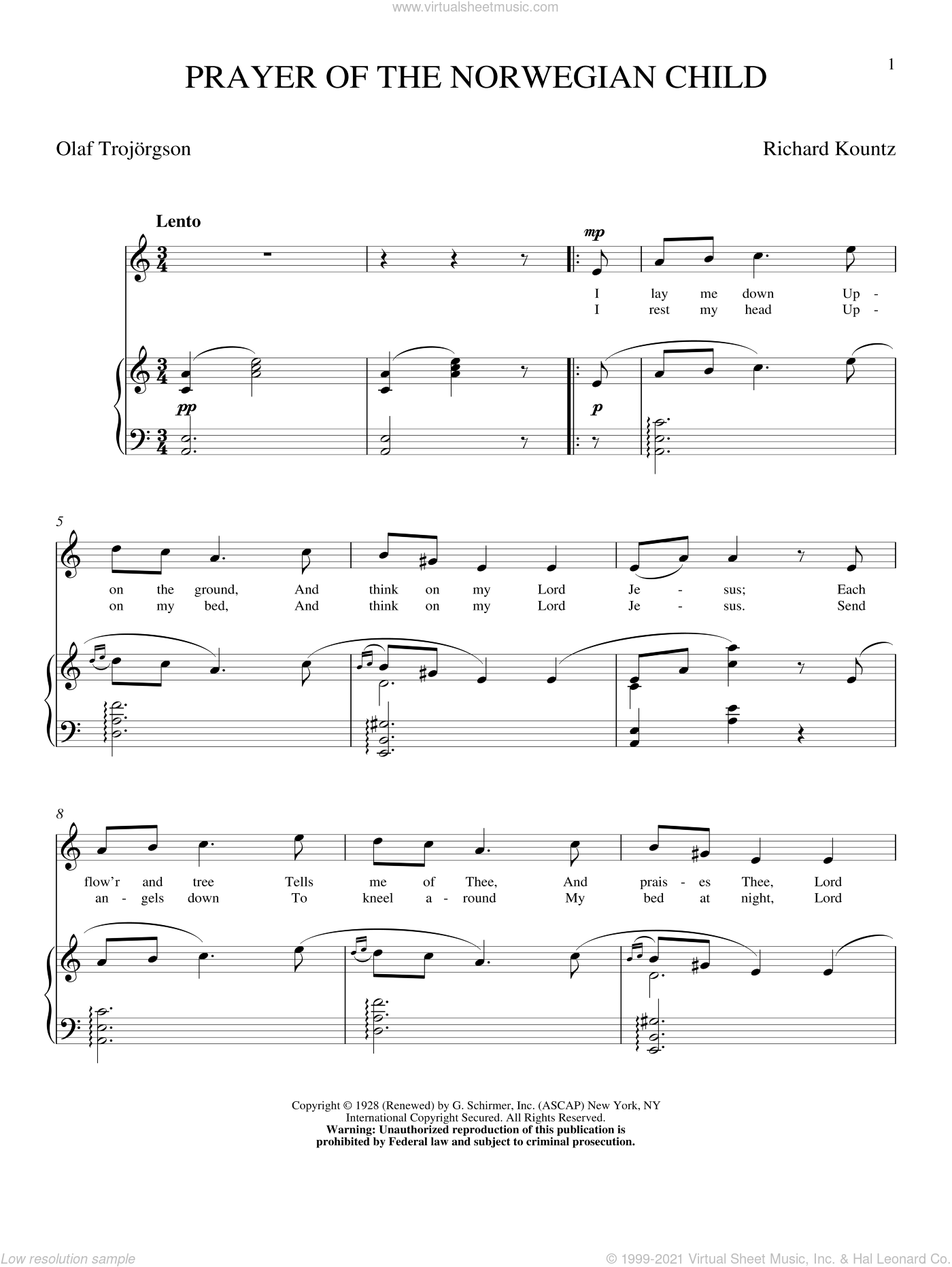 Prayer Of The Norwegian Child sheet music for voice and piano (High Voice) by Richard Kountz and Olaf Trojargson, intermediate skill level