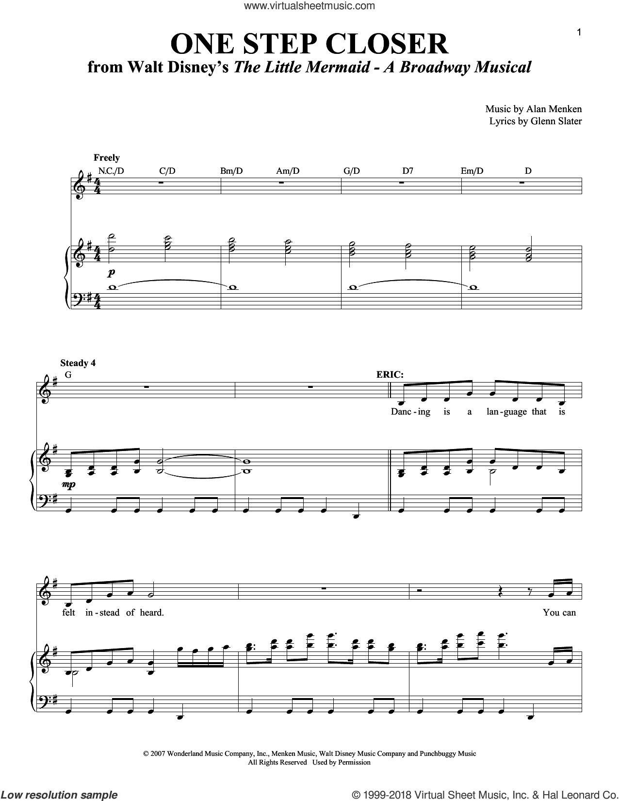One Step Closer sheet music for voice and piano by Alan Menken and Glenn Slater, intermediate