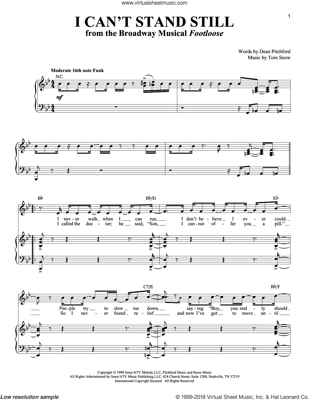 I Can't Stand Still sheet music for voice and piano by Dean Pitchford, Richard Walters and Tom Snow, intermediate skill level