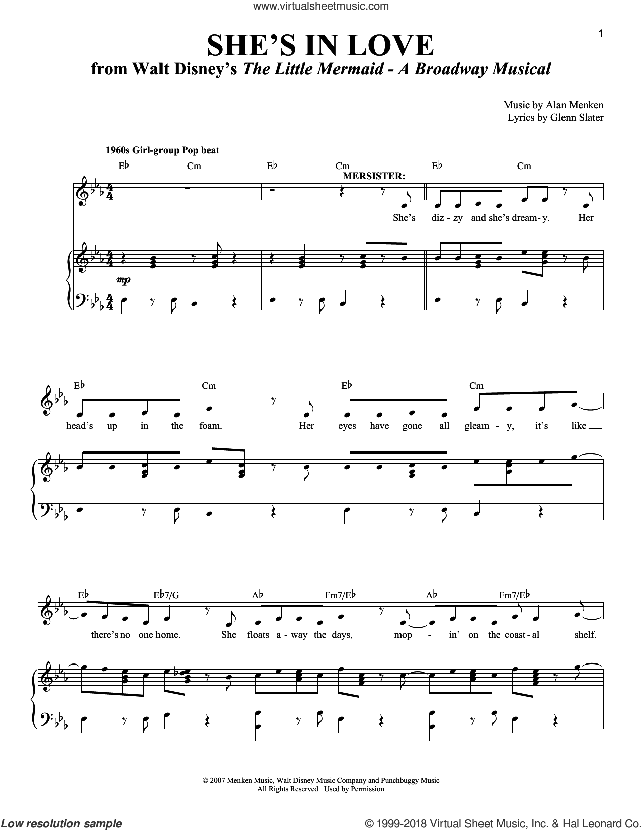 She's In Love sheet music for voice and piano by Alan Menken and Glenn Slater. Score Image Preview.