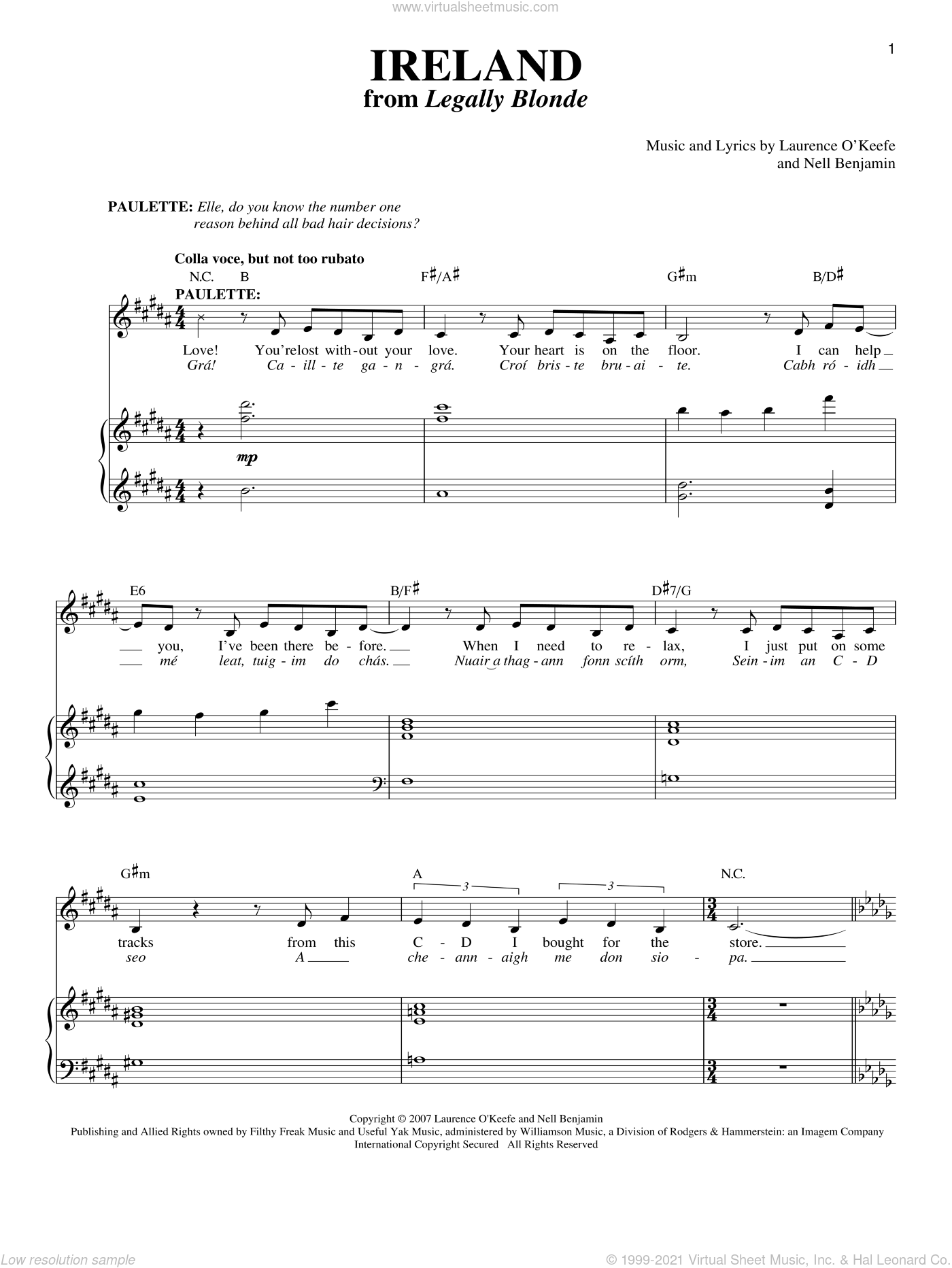 Ireland sheet music for voice and piano by Laurence O'Keefe and Nell Benjamin. Score Image Preview.