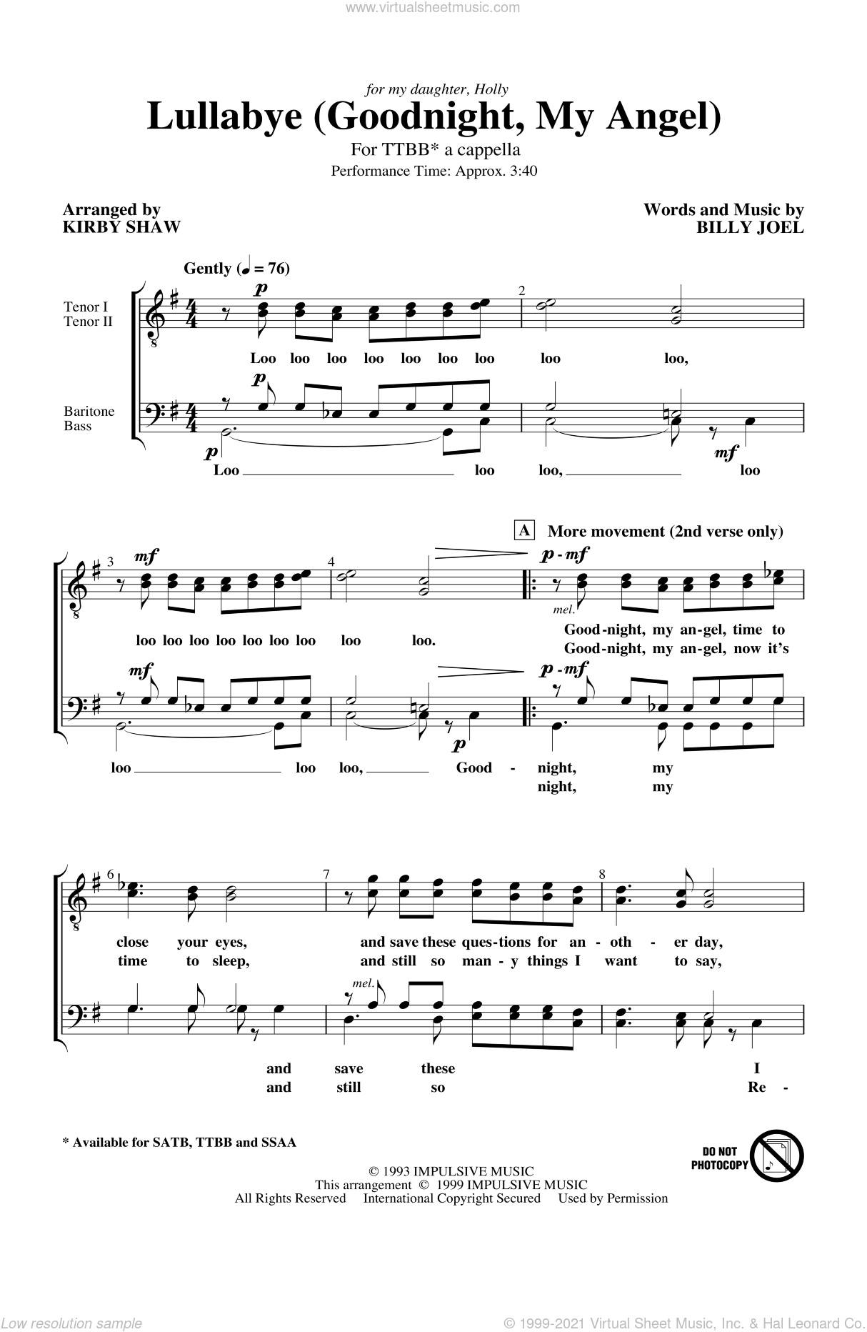 Lullabye (Goodnight, My Angel) sheet music for choir (tenor voice, bass voice, choir) by Kirby Shaw and Billy Joel, intermediate. Score Image Preview.