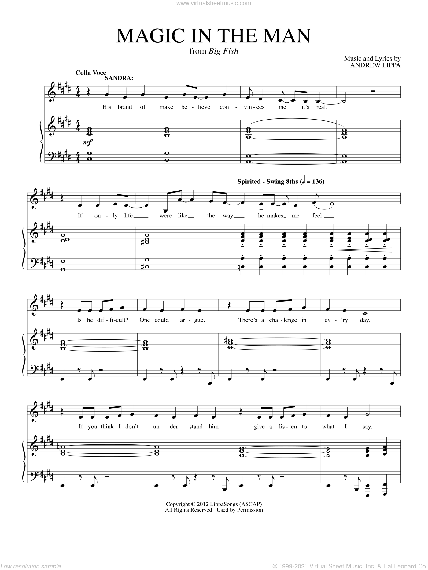Magic In The Man sheet music for voice and piano by Andrew Lippa, intermediate skill level