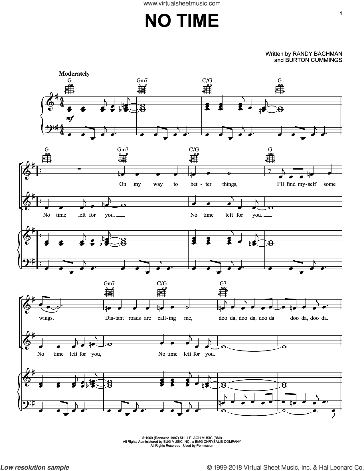 No Time sheet music for voice, piano or guitar by The Guess Who, Burton Cummings and Randy Bachman, intermediate skill level