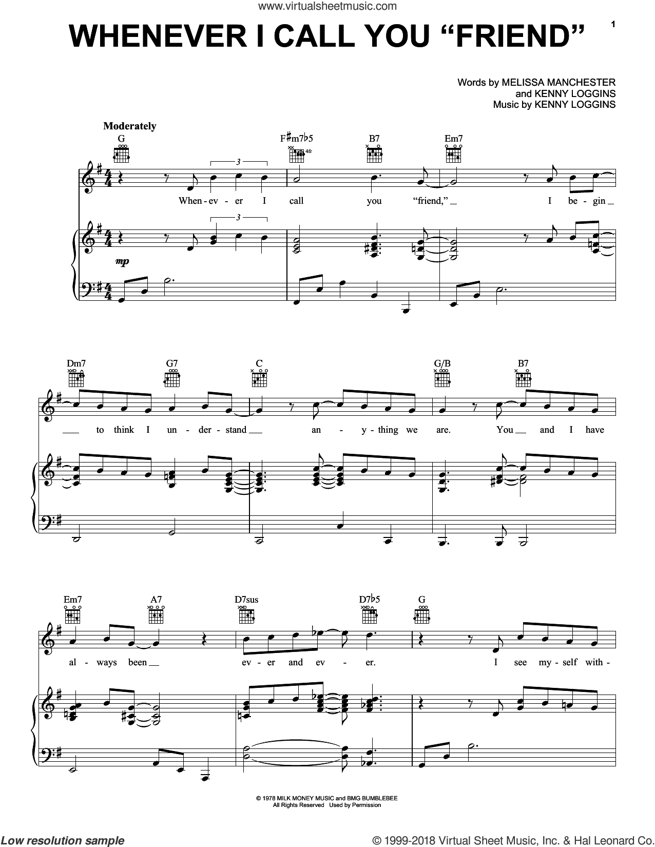 Whenever I Call You 'Friend' sheet music for voice, piano or guitar by Kenny Loggins and Melissa Manchester, intermediate skill level