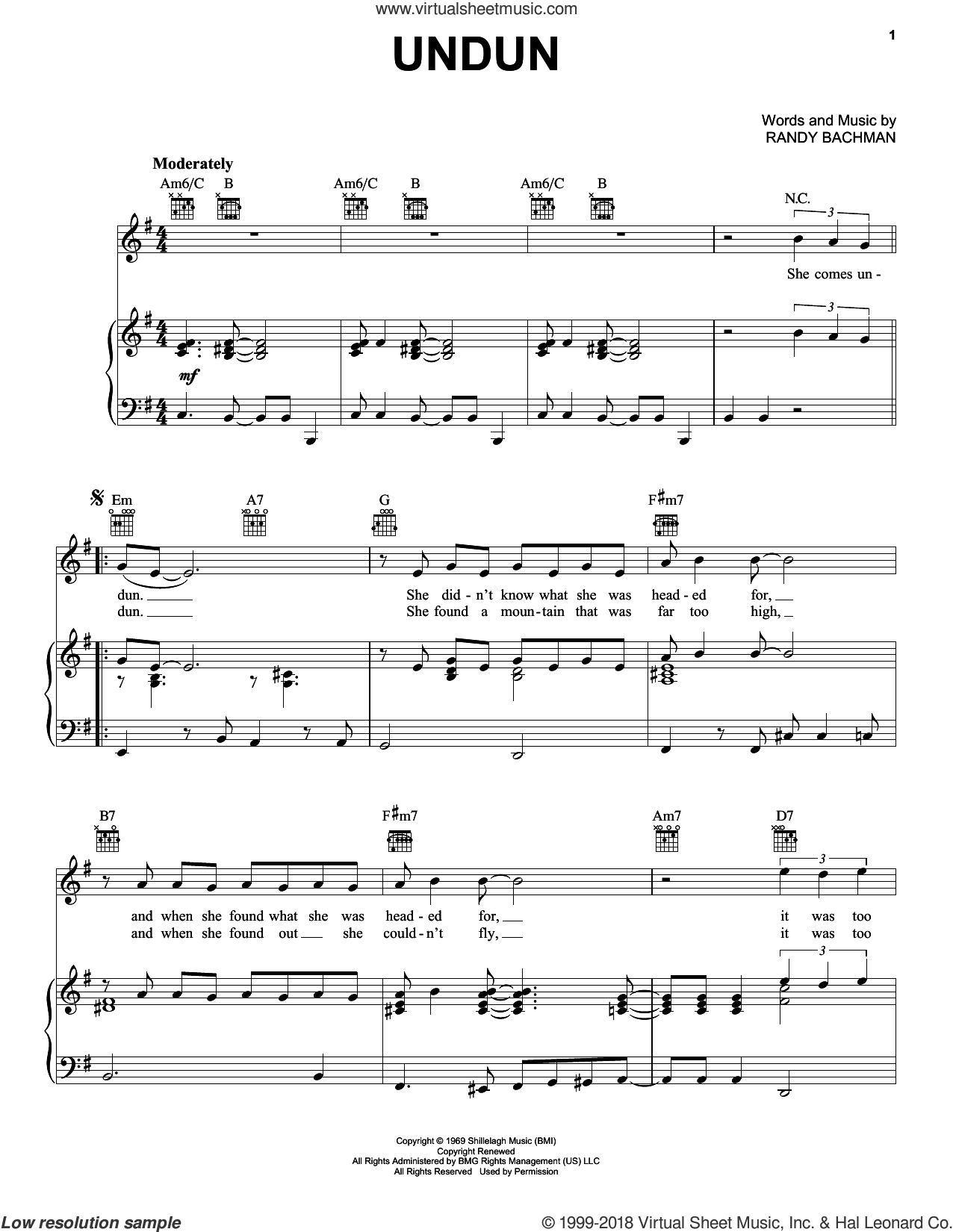 Undun sheet music for voice, piano or guitar by The Guess Who and Randy Bachman, intermediate skill level