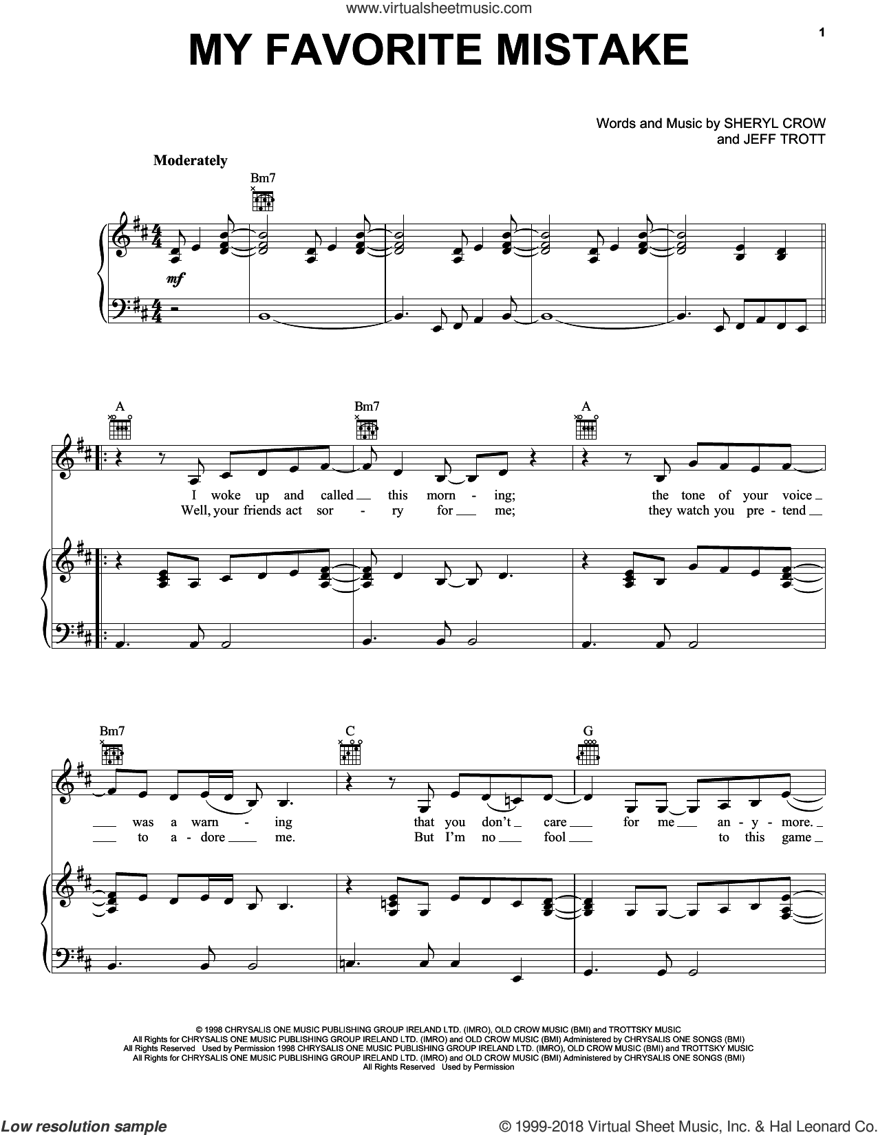 My Favorite Mistake sheet music for voice, piano or guitar by Sheryl Crow and Jeff Trott, intermediate skill level