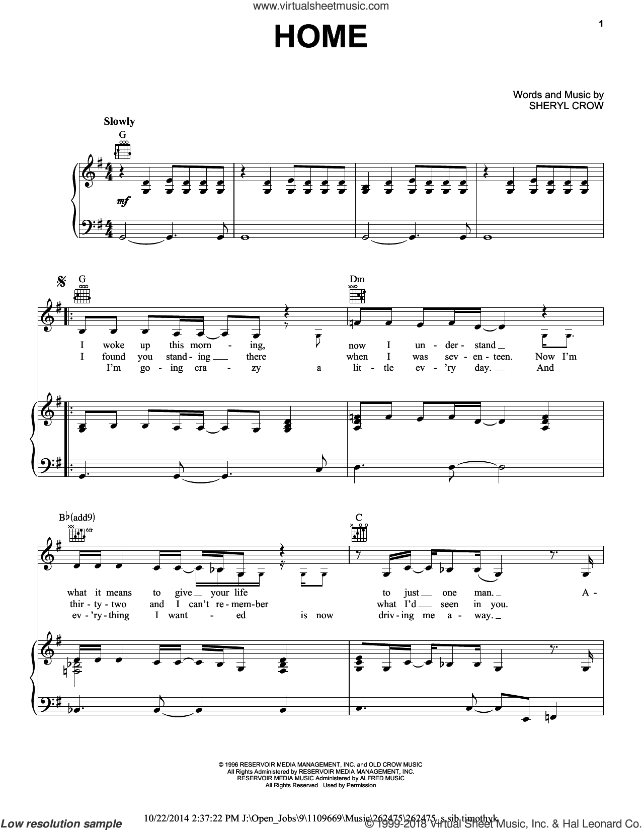 Home sheet music for voice, piano or guitar by Sheryl Crow, intermediate skill level
