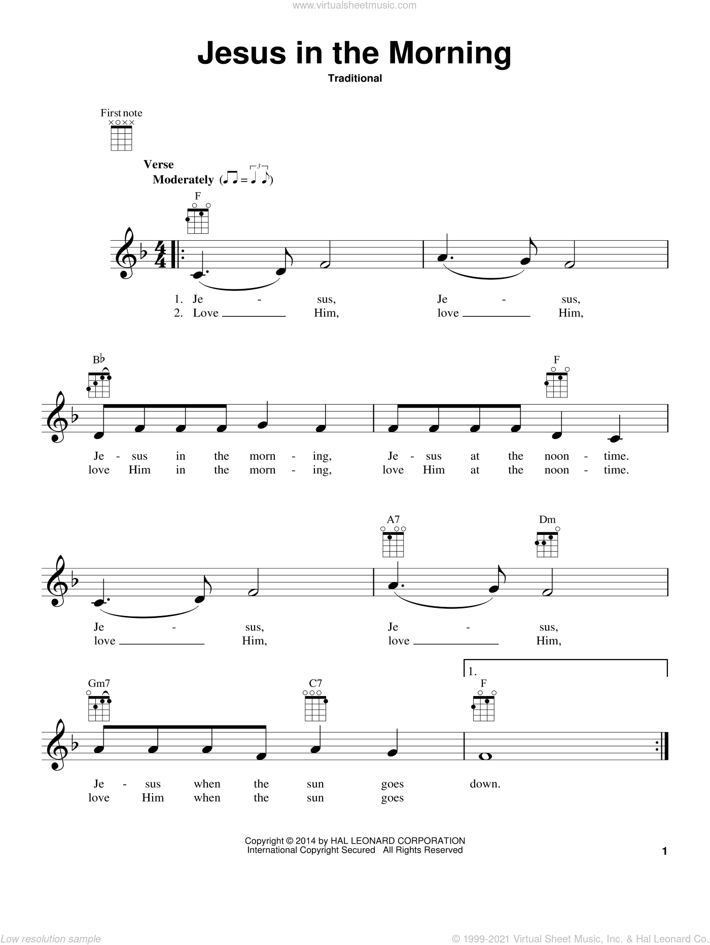 Jesus In The Morning sheet music for ukulele, intermediate skill level