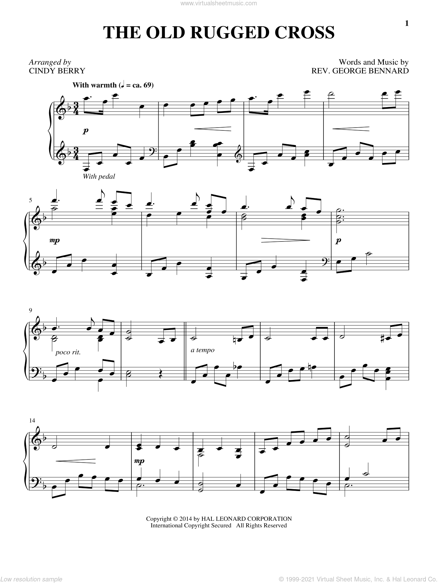 The Old Rugged Cross, (intermediate) sheet music for piano solo by Rev. George Bennard and Cindy Berry, intermediate skill level