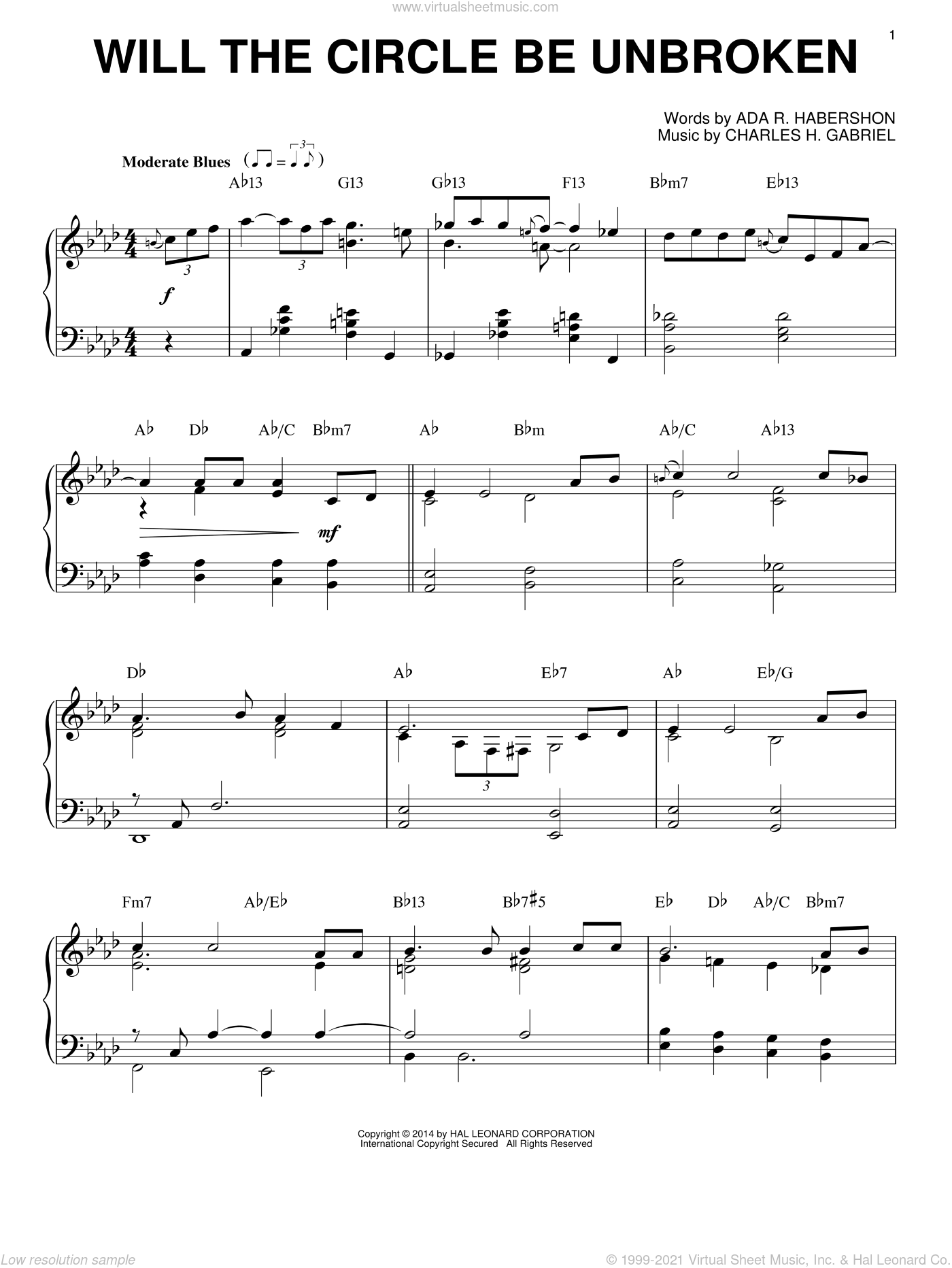 Will The Circle Be Unbroken [Jazz version] sheet music for piano solo by Charles H. Gabriel and Ada R. Habershon, intermediate skill level