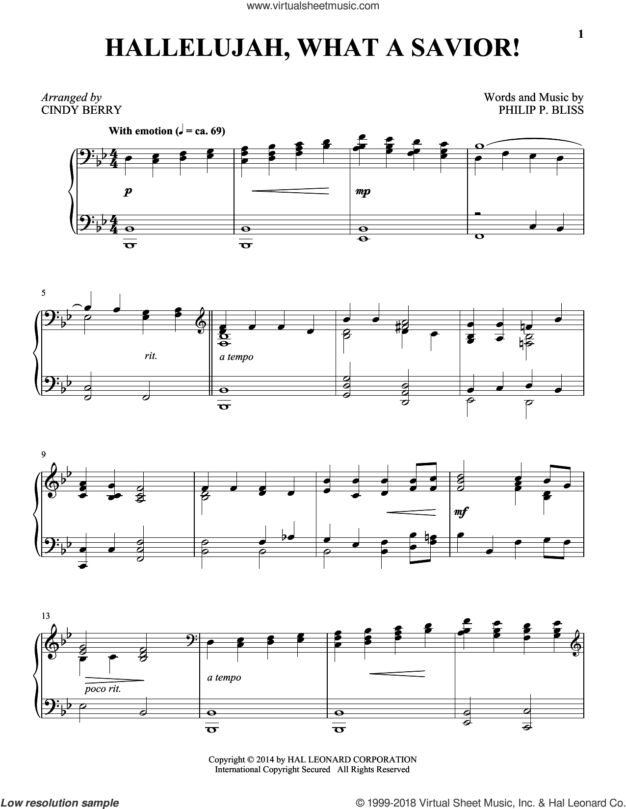 Hallelujah, What A Savior! sheet music for piano solo by Philip P. Bliss and Cindy Berry, intermediate skill level