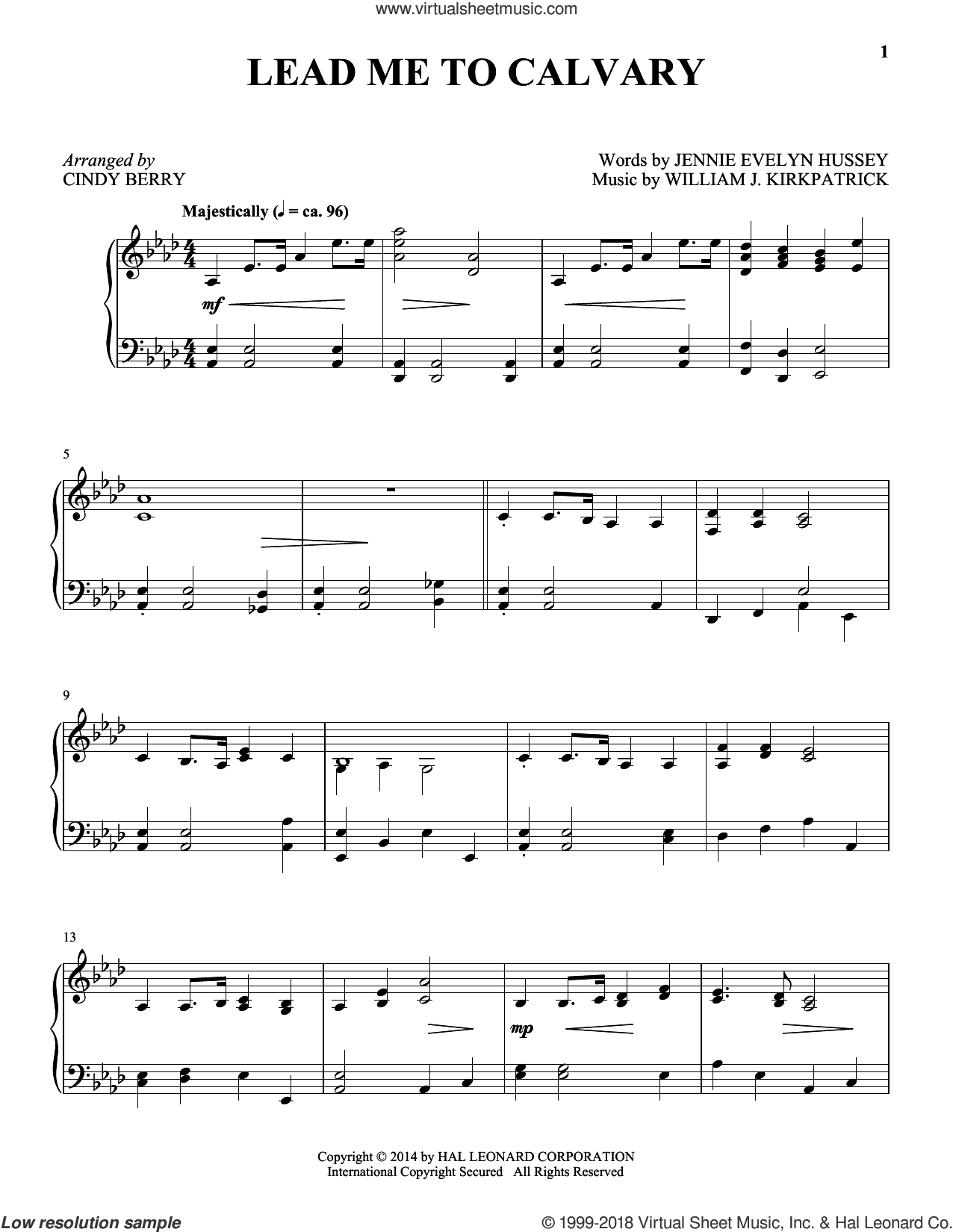 Lead Me To Calvary sheet music for piano solo by William J. Kirkpatrick, Cindy Berry and Jennie Evelyn Hussey, intermediate skill level