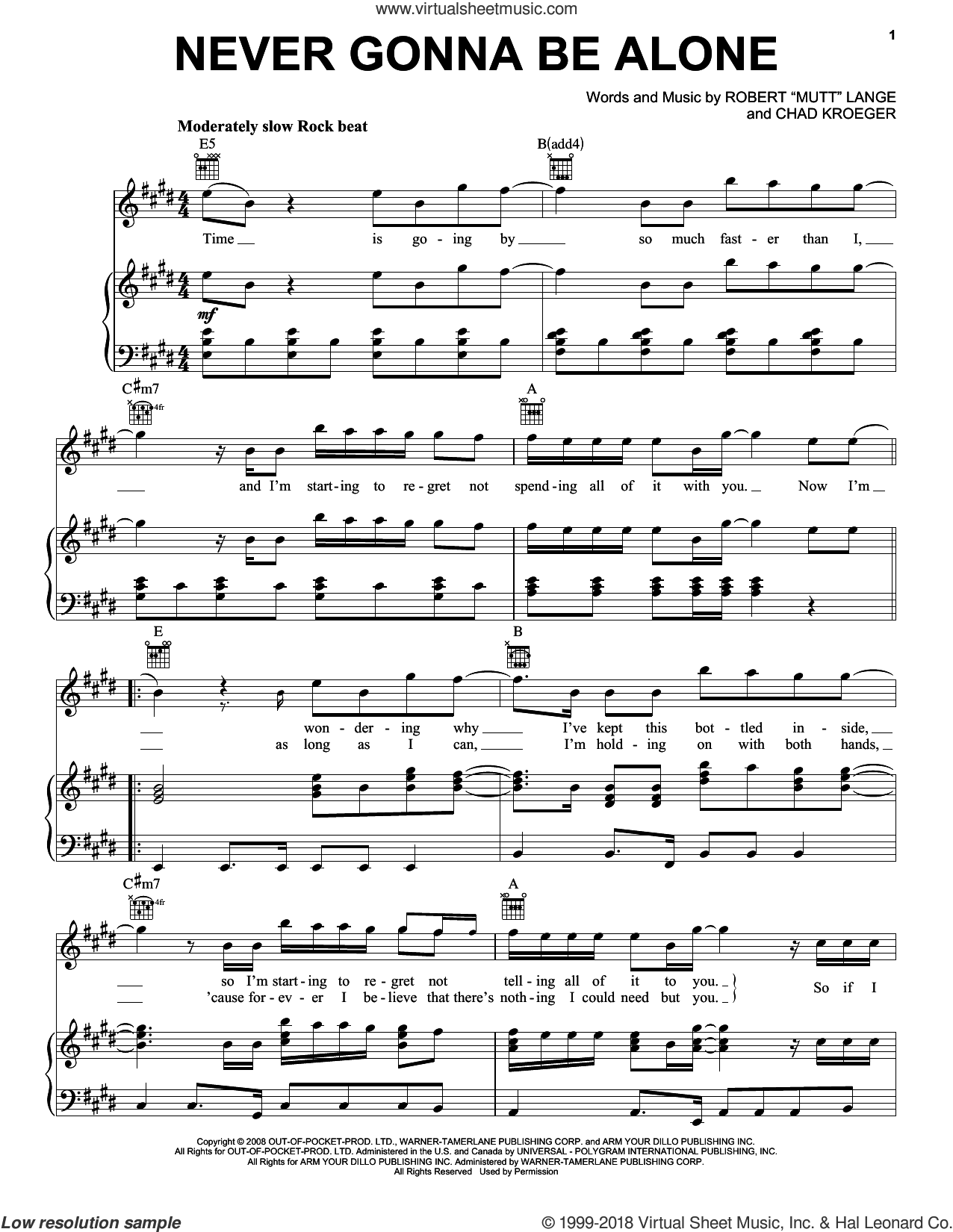 Never Gonna Be Alone sheet music for voice, piano or guitar by Nickelback, Chad Kroeger and Robert 'Mutt' Lange, wedding score, intermediate skill level