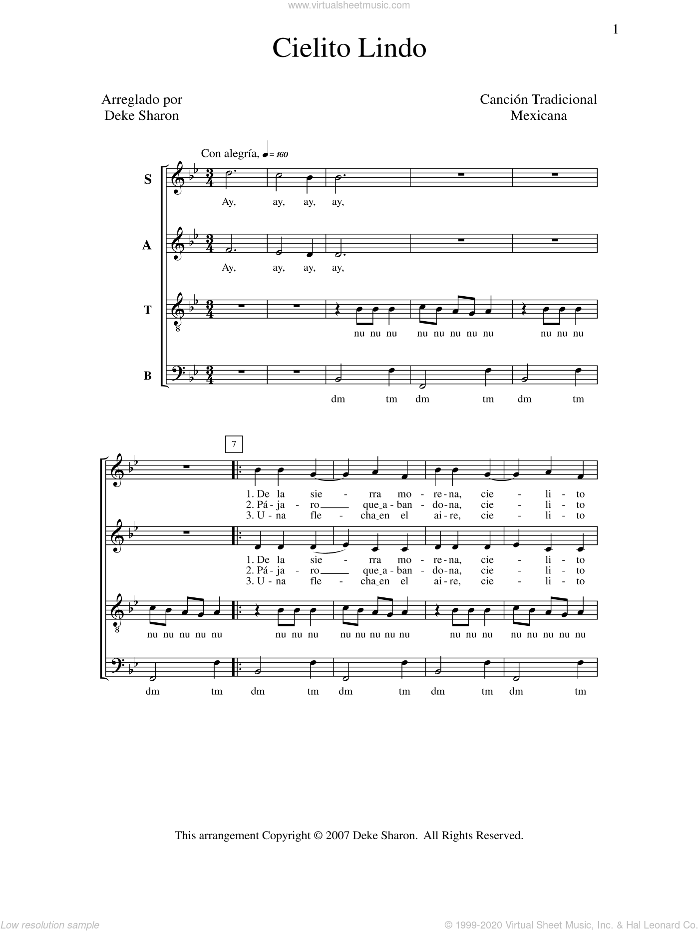 Cielito Lindo sheet music for choir by Deke Sharon, Anne Raugh and Miscellaneous, intermediate skill level