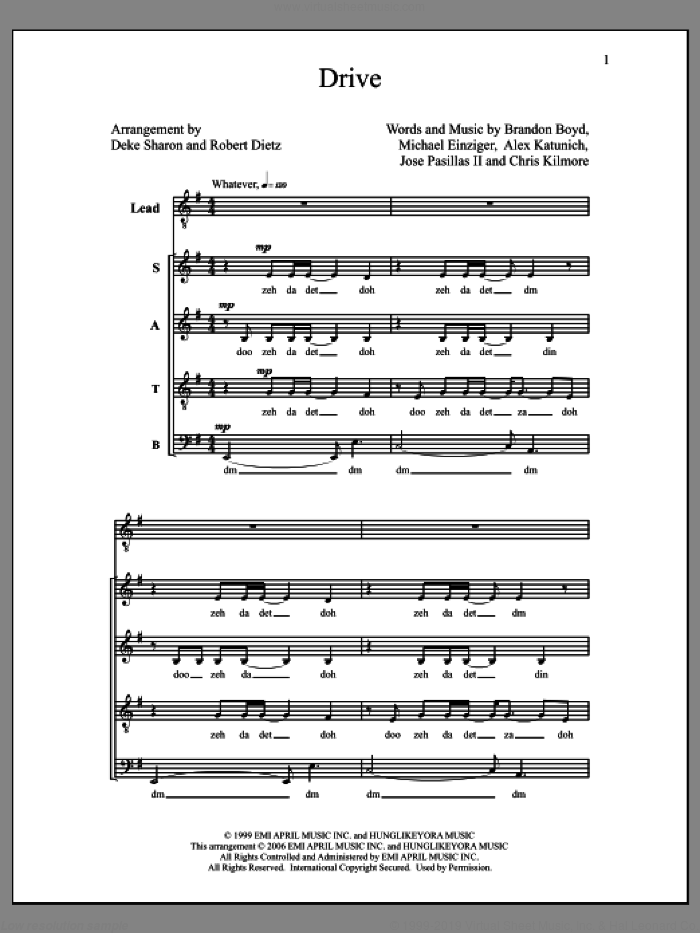 Drive sheet music for choir (SATB A Cappella) by Deke Sharon and Robert Dietz. Score Image Preview.