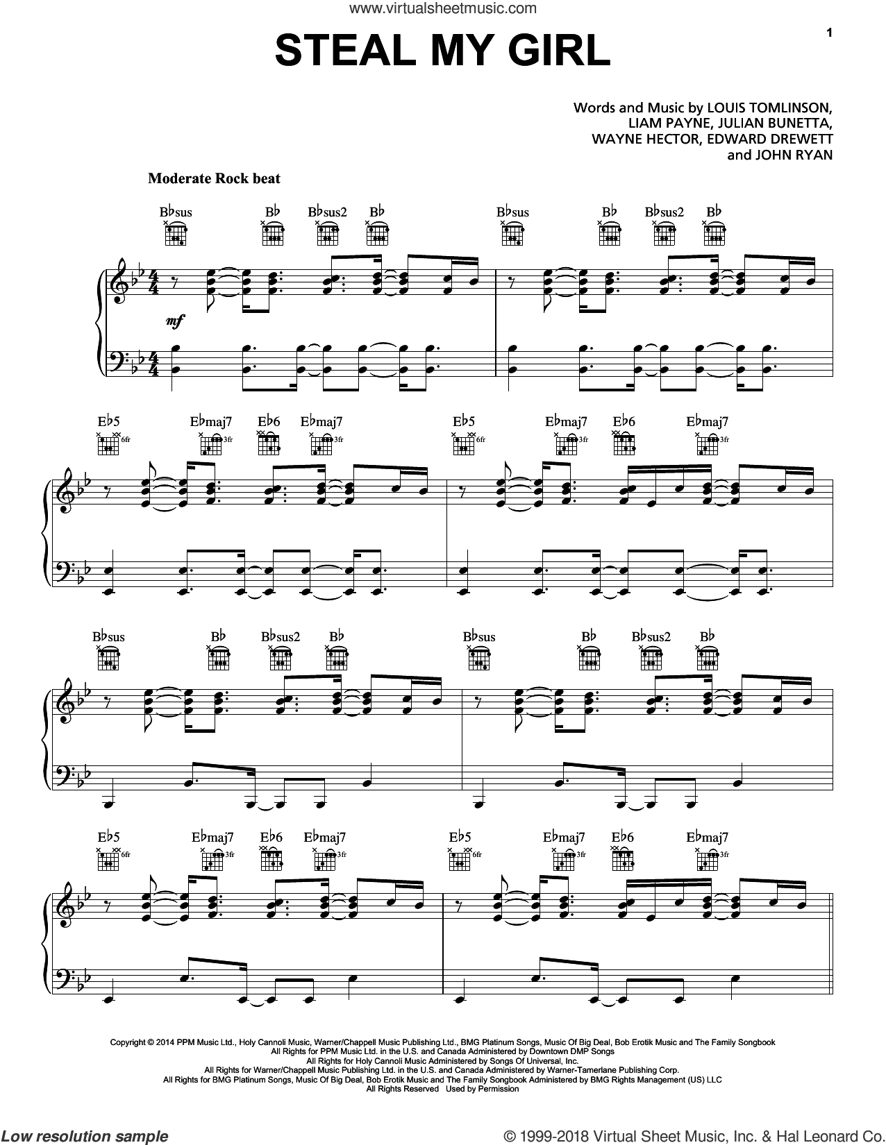 Steal My Girl sheet music for voice, piano or guitar by One Direction, Edward Drewett, John Ryan, Julian Bunetta, Liam Payne, Louis Tomlinson and Wayne Hector, intermediate skill level