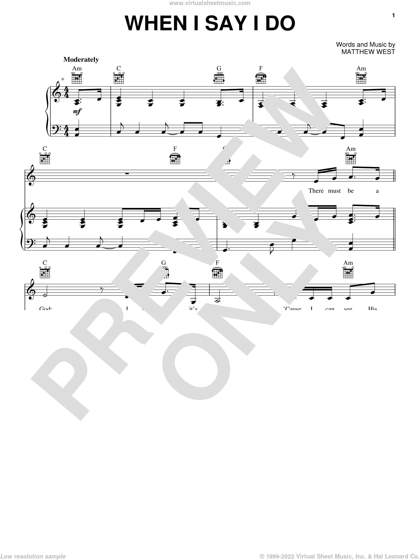 When I Say I Do sheet music for voice, piano or guitar by Matthew West, wedding score, intermediate skill level