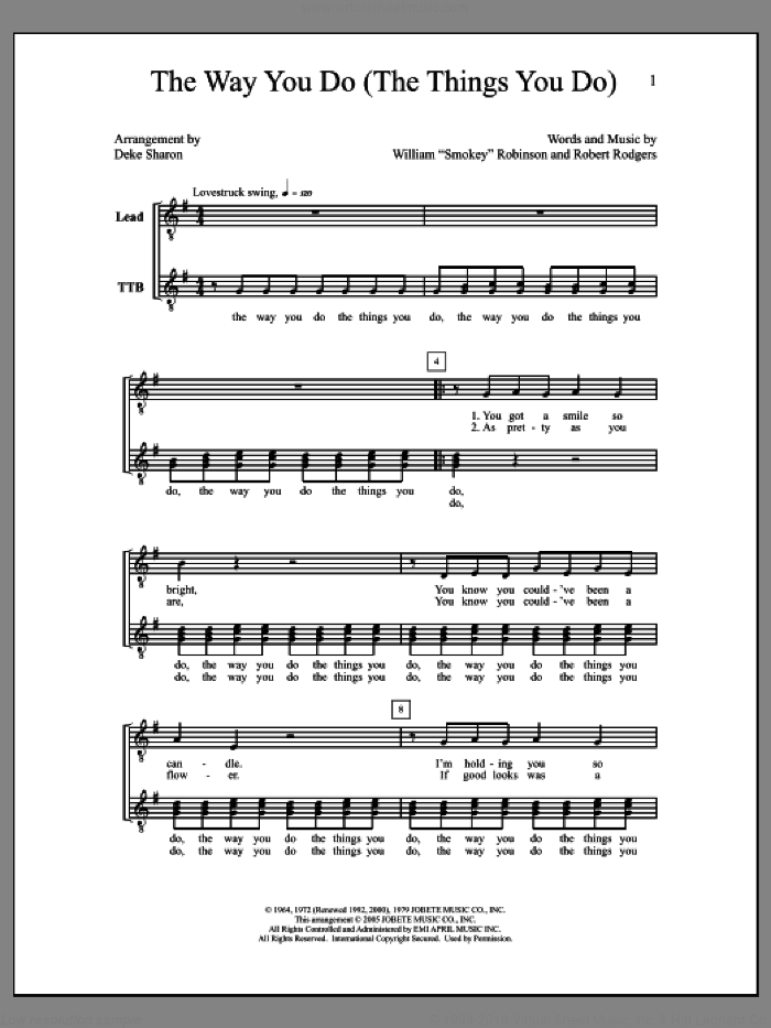The Way You Do (The Things You Do) sheet music for choir by Deke Sharon, Anne Raugh and Robert Rogers, intermediate skill level