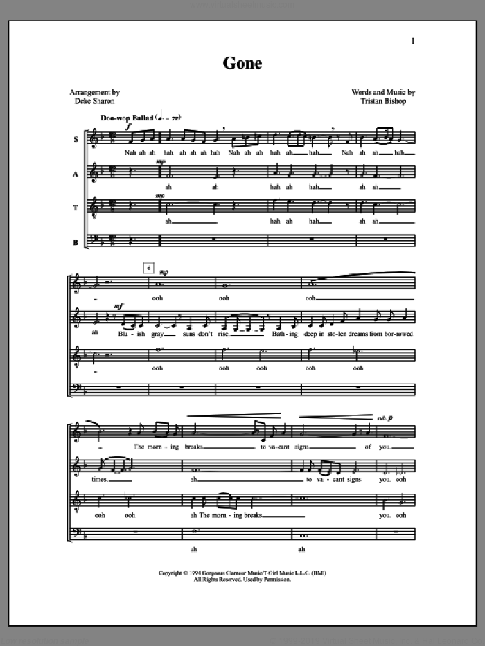 Gone sheet music for choir by Deke Sharon, Anne Raugh, The Housejacks and Tristan Bishop, intermediate skill level