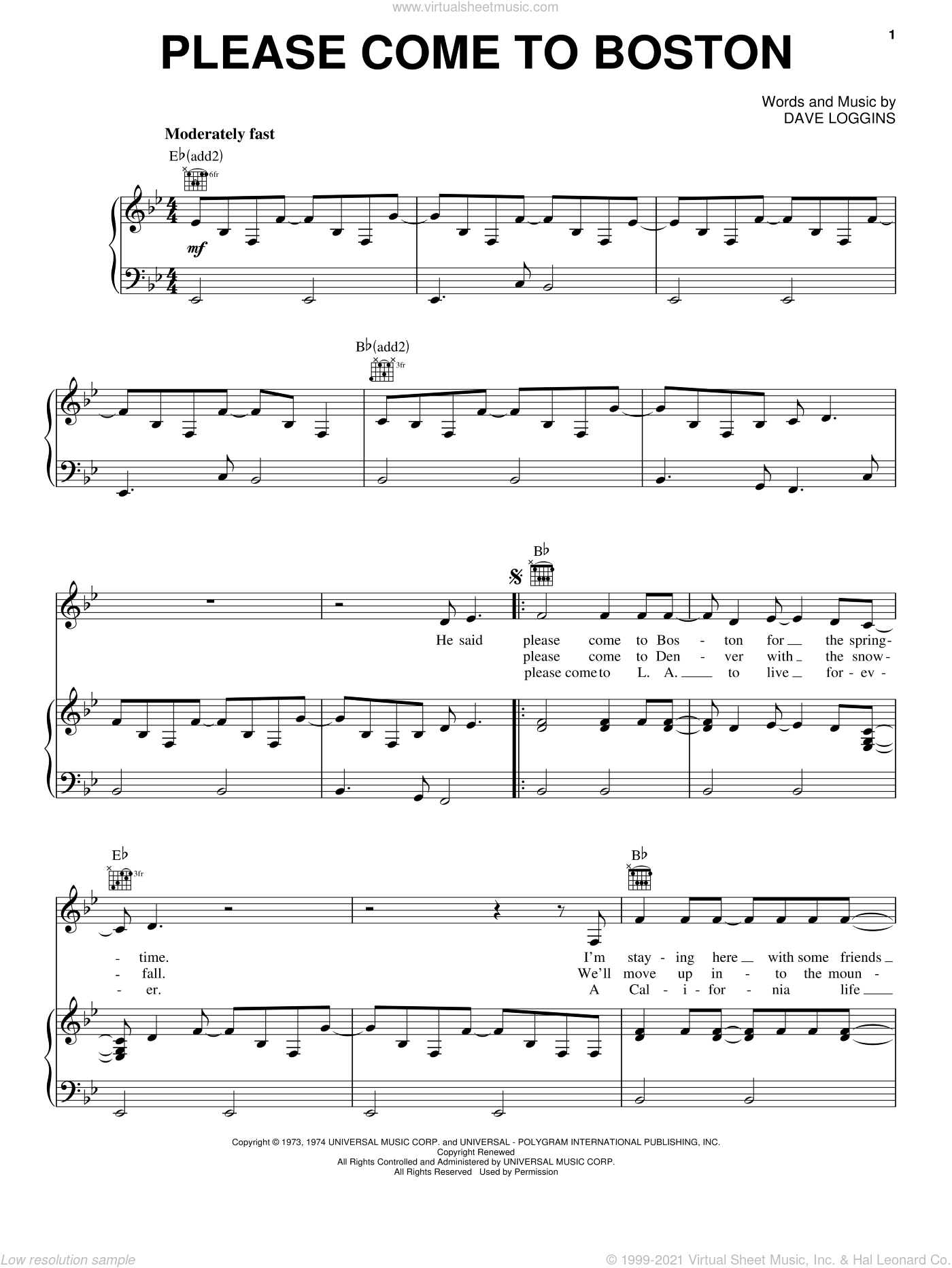 Please Come To Boston sheet music for voice, piano or guitar by Dave Loggins and Glen Campbell, intermediate voice, piano or guitar. Score Image Preview.