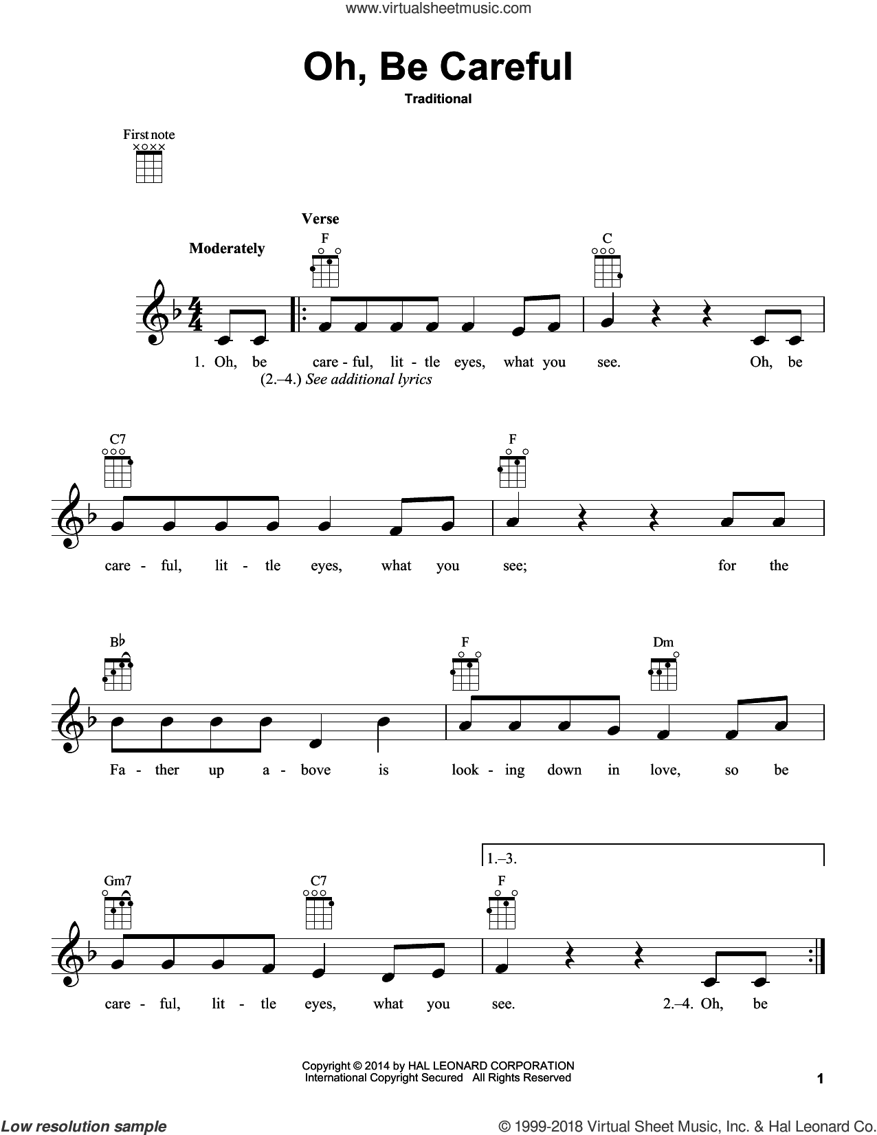 Oh, Be Careful sheet music for ukulele, intermediate