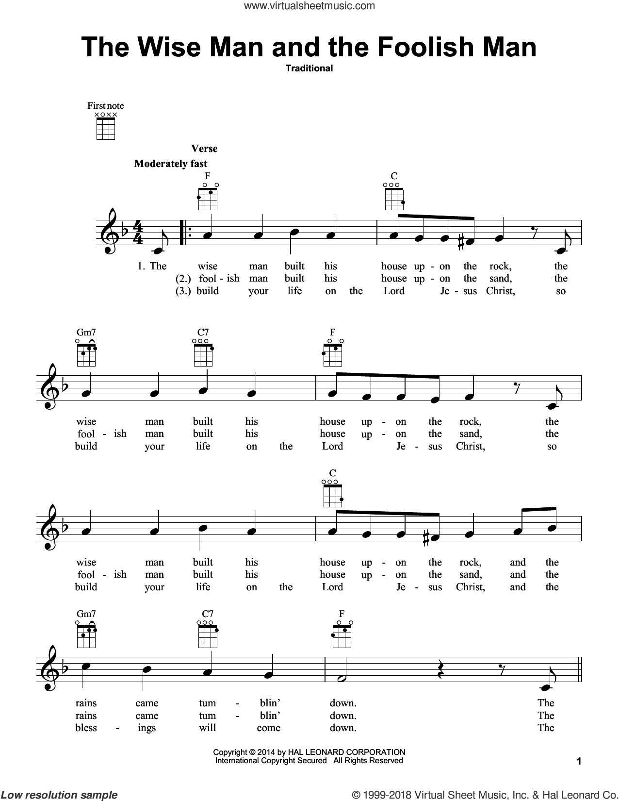 The Wise Man And The Foolish Man sheet music for ukulele, intermediate skill level