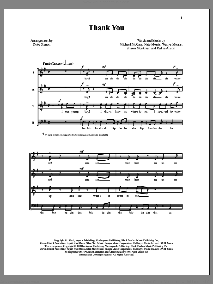 Thank You sheet music for choir by Deke Sharon, Anne Raugh and Dallas Austin, intermediate. Score Image Preview.