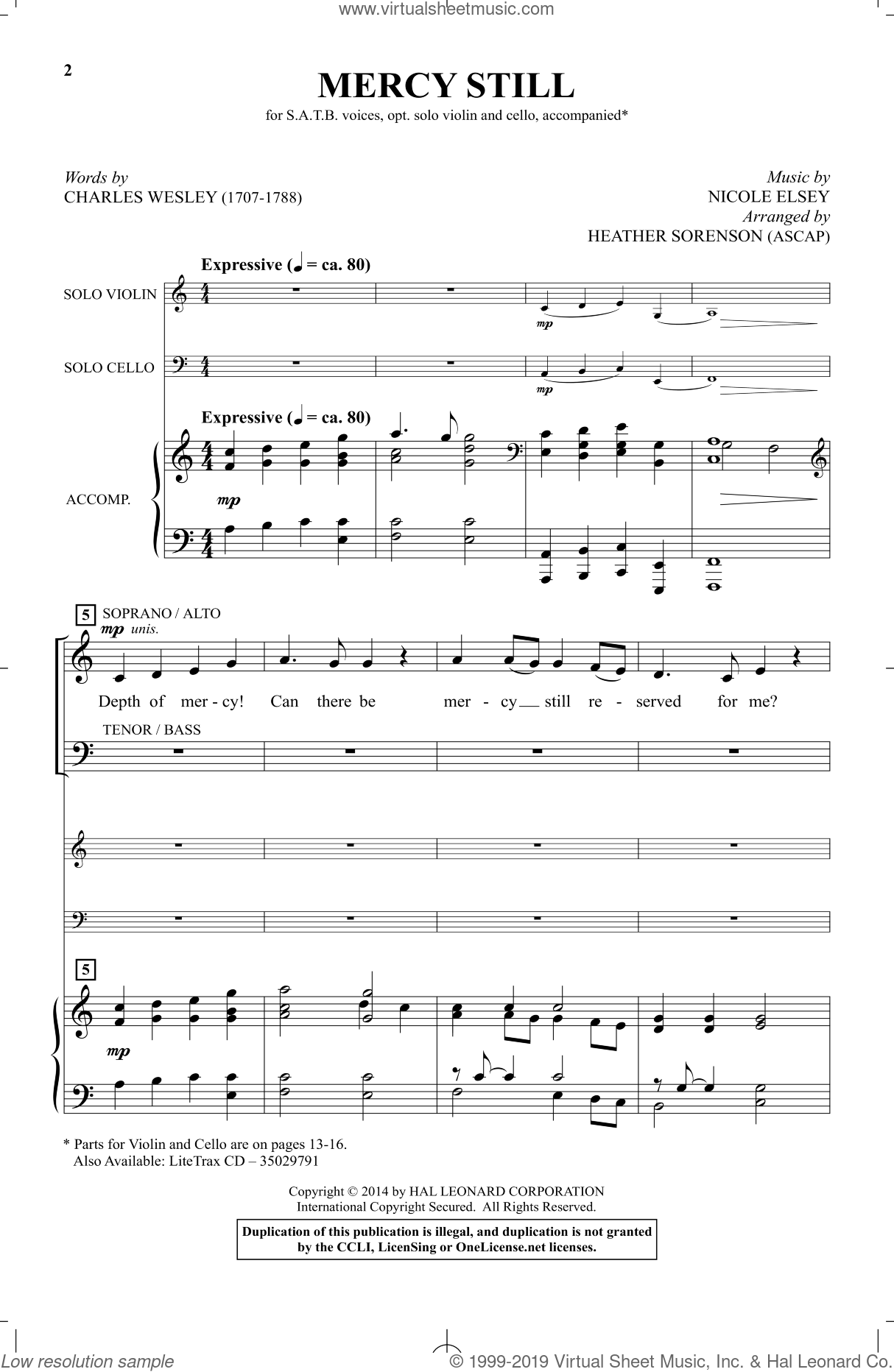 Mercy Still sheet music for choir by Charles Wesley, Heather Sorenson and Nicole Elsey, intermediate skill level