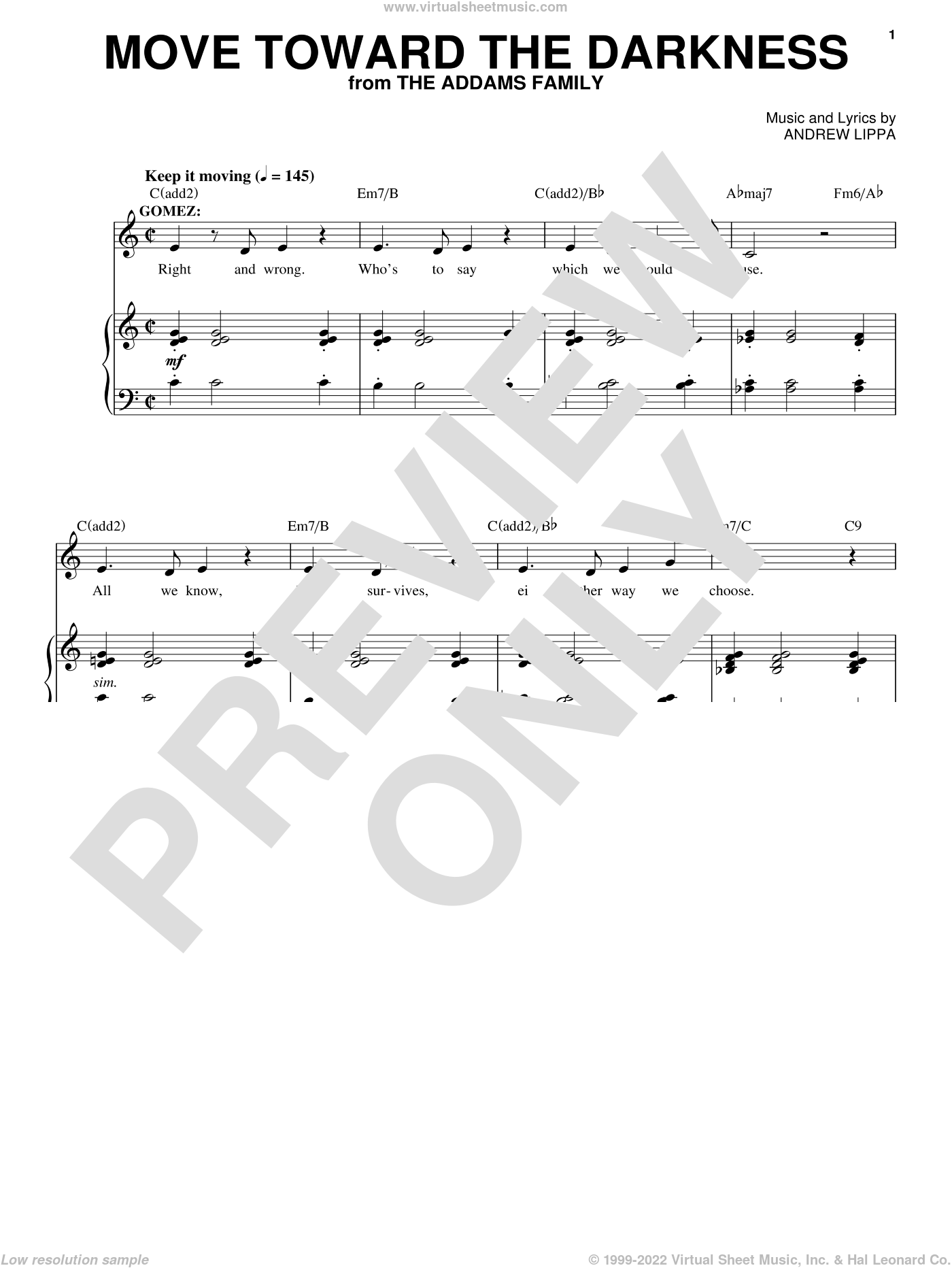 Move Toward The Darkness sheet music for voice, piano or guitar by Andrew Lippa, intermediate skill level