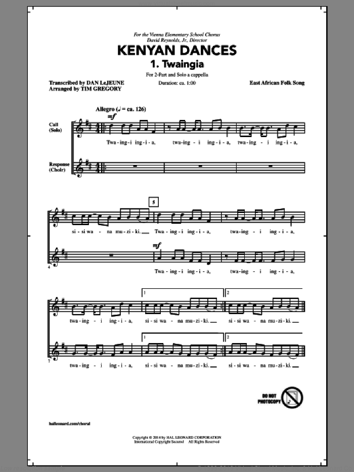 Kwaheri sheet music for choir (duets) by East African Folk Song and Tim Gregory. Score Image Preview.