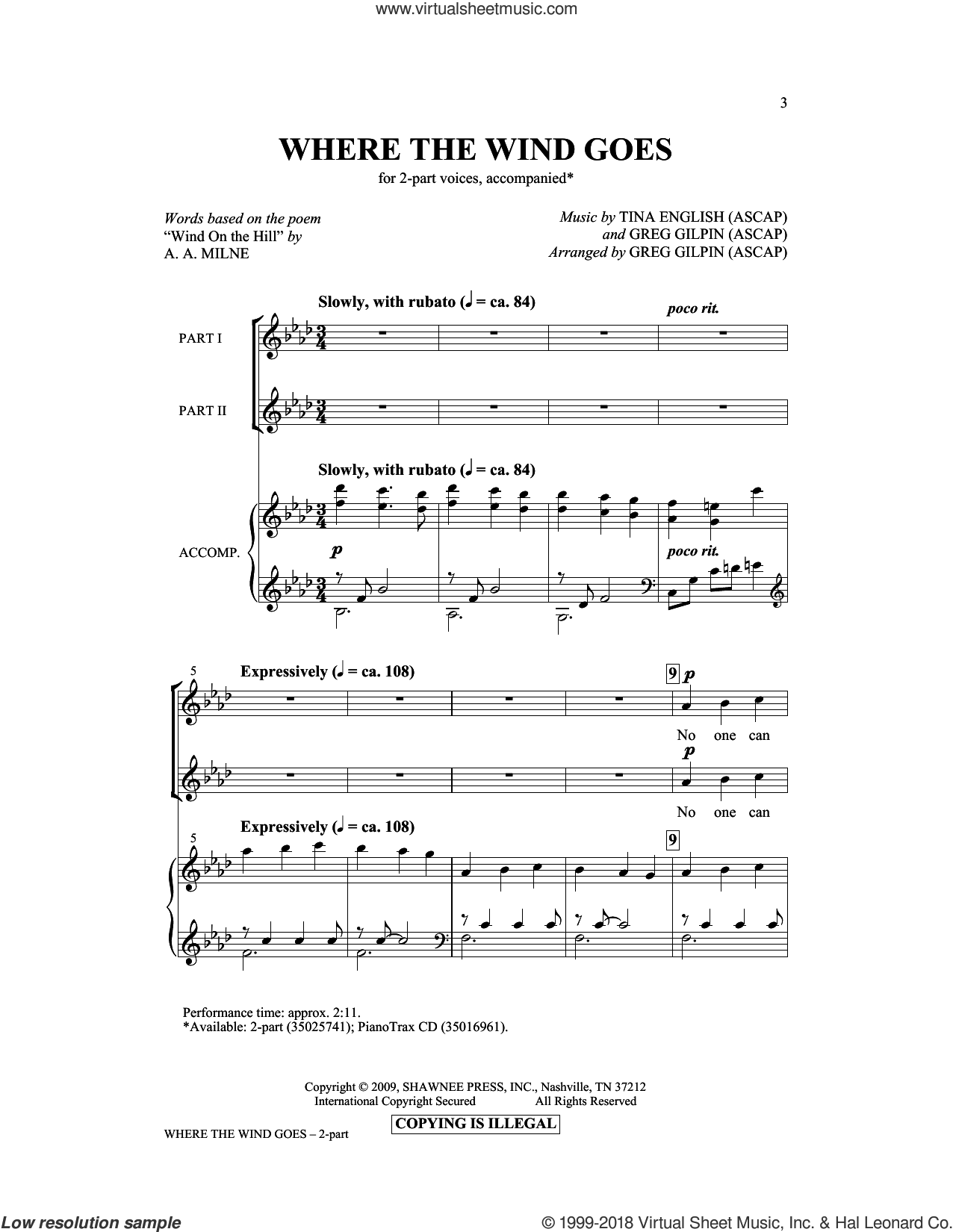 Where The Wind Goes sheet music for choir (duets) by Greg Gilpin, Tina English and A.A. Milne. Score Image Preview.