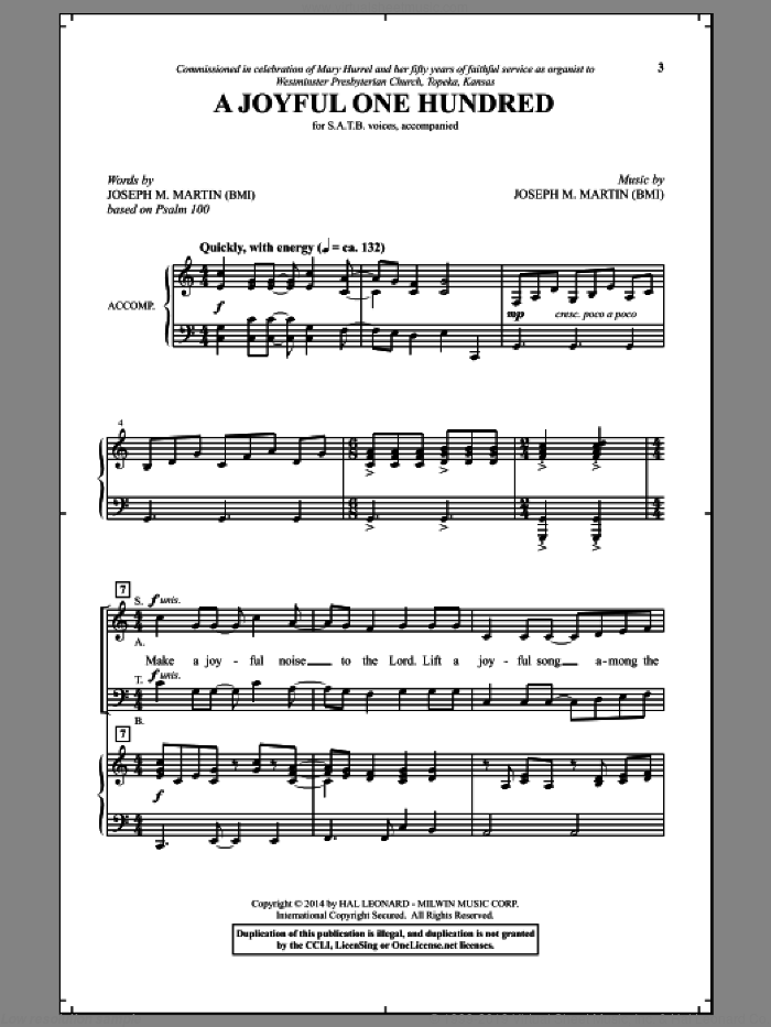 A Joyful One Hundred sheet music for choir (SATB) by Joseph M. Martin, intermediate choir (SATB). Score Image Preview.