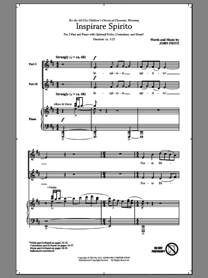 Inspirare Spirito sheet music for choir (duets) by John Fritz. Score Image Preview.