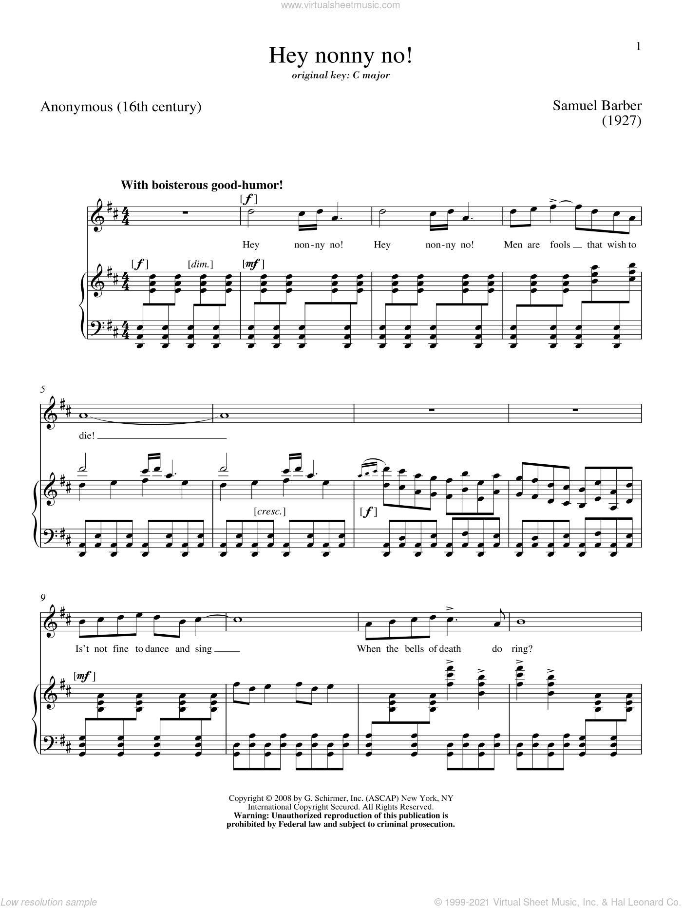 Hey Nonny-No! sheet music for voice and piano (High ) by Samuel Barber. Score Image Preview.