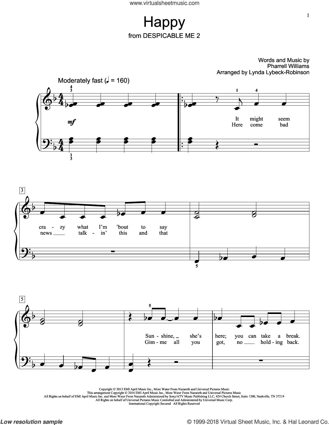 Happy sheet music for piano solo (elementary) by Pharrell Williams, Lynda Lybeck-Robinson and Pharrell. Score Image Preview.