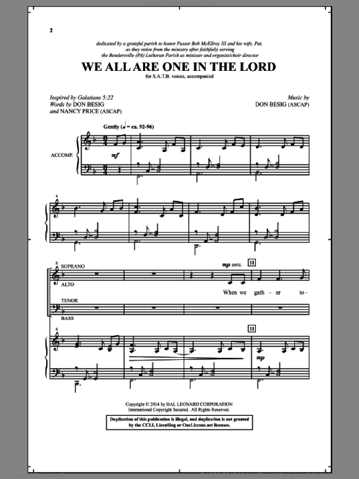 We All Are One In The Lord sheet music for choir and piano (SATB) by Nancy Price and Don Besig. Score Image Preview.