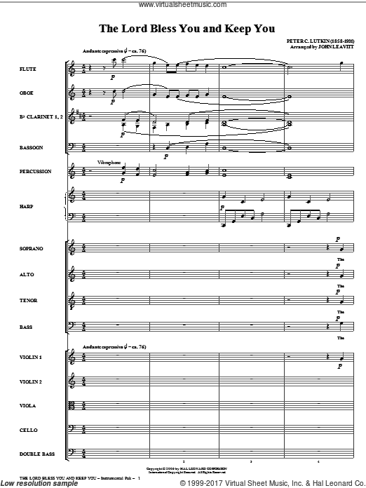The Lord Bless You And Keep You (COMPLETE) sheet music for orchestra by Peter Lutkin